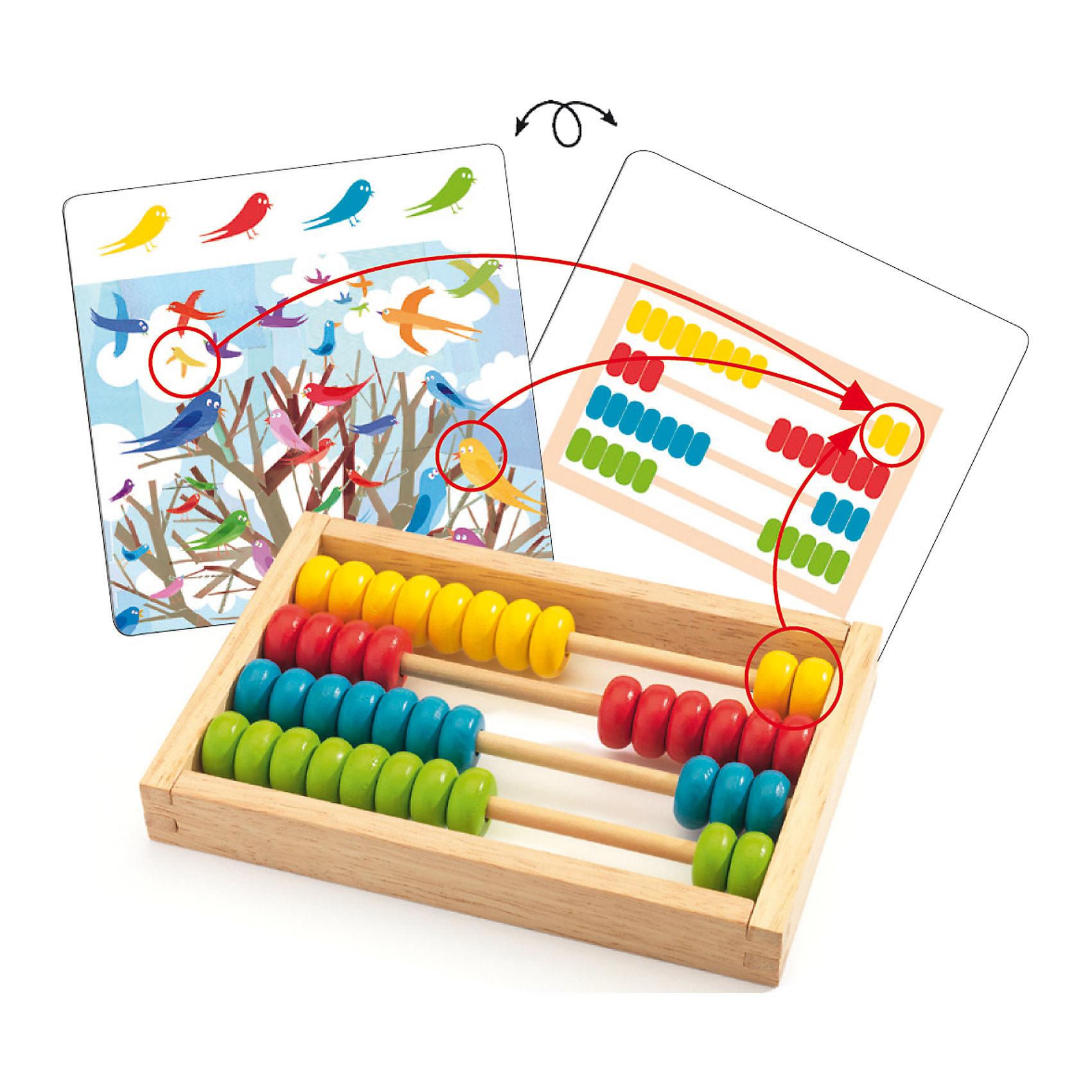 Настольная игра Счеты, DJECOНастольная игра Счеты от французского производителя игрушек Djeco – превосходный игровой набор, который научит малыша считать. В набор входят красочные интересные карточки, а также счеты с четырьмя рядами разноцветных костяшек. Смысл игры состоит в том, чтобы малыш сосчитал количество персонажей на карточке и перенес это количество на счеты согласно цветам. Яркие и красивые картинки с птичками, цветами, животными порадуют малыша и сделают игру очень интересной. Малышу обязательно понравится считать и рассматривать милых персонажей на карточках. Размер счетов: 20 х 20 см. В наборе: 20 карточек с заданиями,<br>деревянные счеты.<br><br>Ширина мм: 40<br>Глубина мм: 210<br>Высота мм: 220<br>Вес г: 730<br>Возраст от месяцев: 36<br>Возраст до месяцев: 1188<br>Пол: Унисекс<br>Возраст: Детский<br>SKU: 4761464