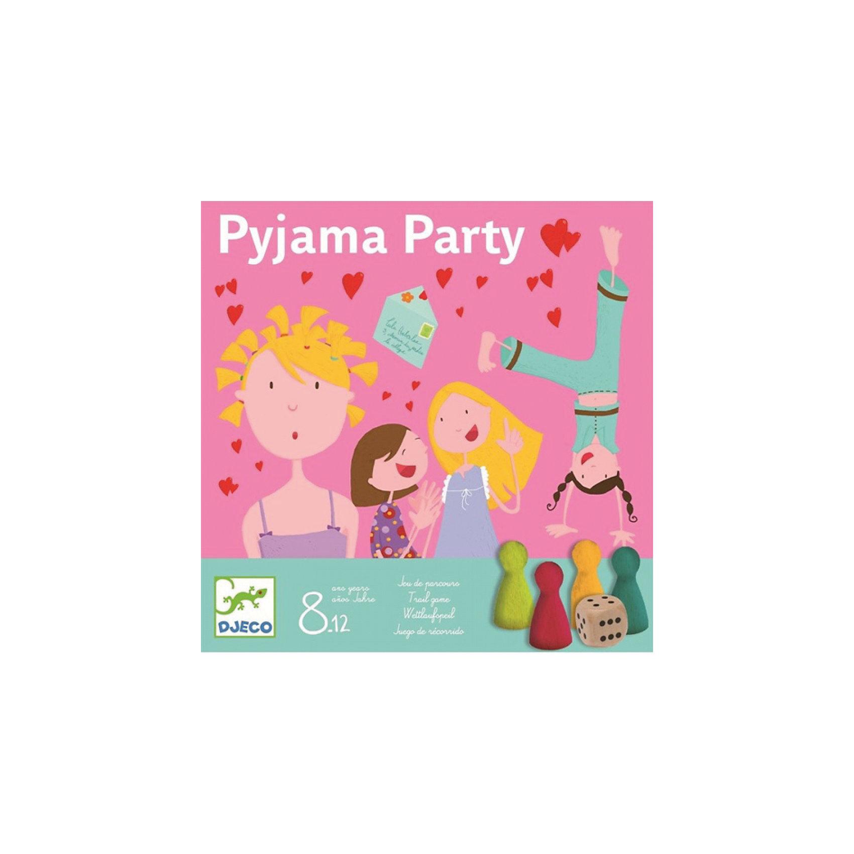 Настольная игра Пижамная вечеринка, DJECOНастольная игра Пижамная вечеринка от известного французского производителя Djeco – веселая игра для детей возрастом от 8 до 12 лет, прекрасно подходящая для настоящей пижамной вечеринки! <br><br>Невероятно веселая игра для девочек от Djeco заставит детей смеяться до слез, делиться секретами и подарит незабываемые моменты, которые можно разделить с друзьями. В ходе игры детям нужно будет отвечать на различные вопросы, указанные в карточках, придумывать истории, анекдоты и так далее! <br><br>В наборе: <br><br>игровое поле,<br>4 фишки для игроков,<br>80 карточек с заданиями,<br>игральный кубик.<br><br>Игра развивает коммуникабельность детей, воображение, фантазию. <br><br>Количество игроков: 2-4 человек. <br>Примерное время игры: 30 минут.<br><br>Ширина мм: 220<br>Глубина мм: 220<br>Высота мм: 40<br>Вес г: 800<br>Возраст от месяцев: 36<br>Возраст до месяцев: 1188<br>Пол: Унисекс<br>Возраст: Детский<br>SKU: 4761469
