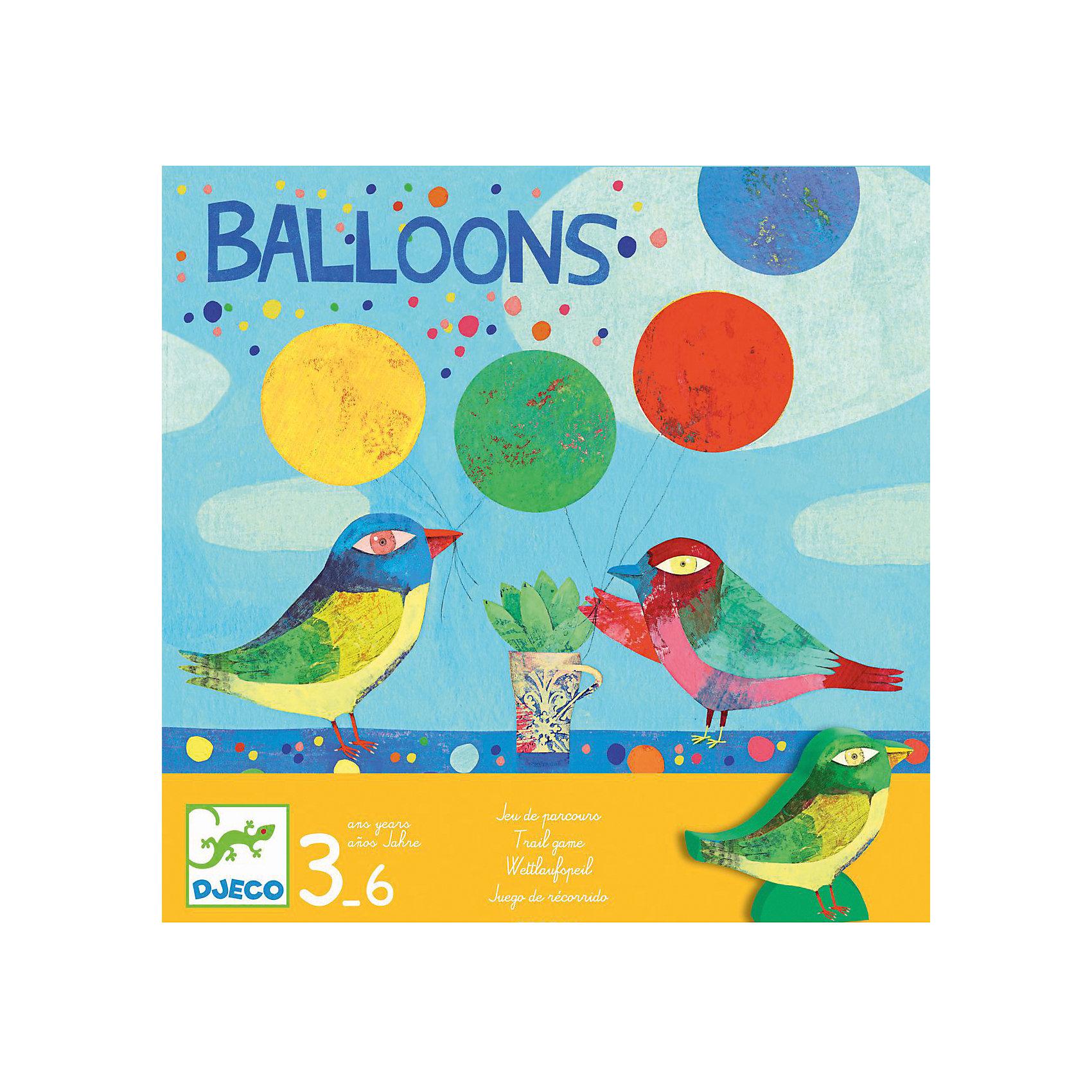 Настольная игра Воздушные шары, DJECOРазвивающие игры<br>Настольная игра Воздушные шары от известного французского производителя Djeco – веселая игра для детей возрастом от 3 до 6 лет! <br><br>Птички отправились на поиски воздушных шариков, которые уплыли далеко в небо. Кто из них первым вернет 4 шарика? Первая настольная вашего малыша от Djeco запомнится ему благодаря уникальному дизайну и простым, но одновременно увлекательным правилам! <br><br>Игра развивает логическое мышление детей, воображение, внимание. <br><br>Количество игроков: 3-6 человек. <br>Примерное время игры: 5 минут.<br><br>Ширина мм: 220<br>Глубина мм: 220<br>Высота мм: 60<br>Вес г: 560<br>Возраст от месяцев: 36<br>Возраст до месяцев: 1188<br>Пол: Унисекс<br>Возраст: Детский<br>SKU: 4761470