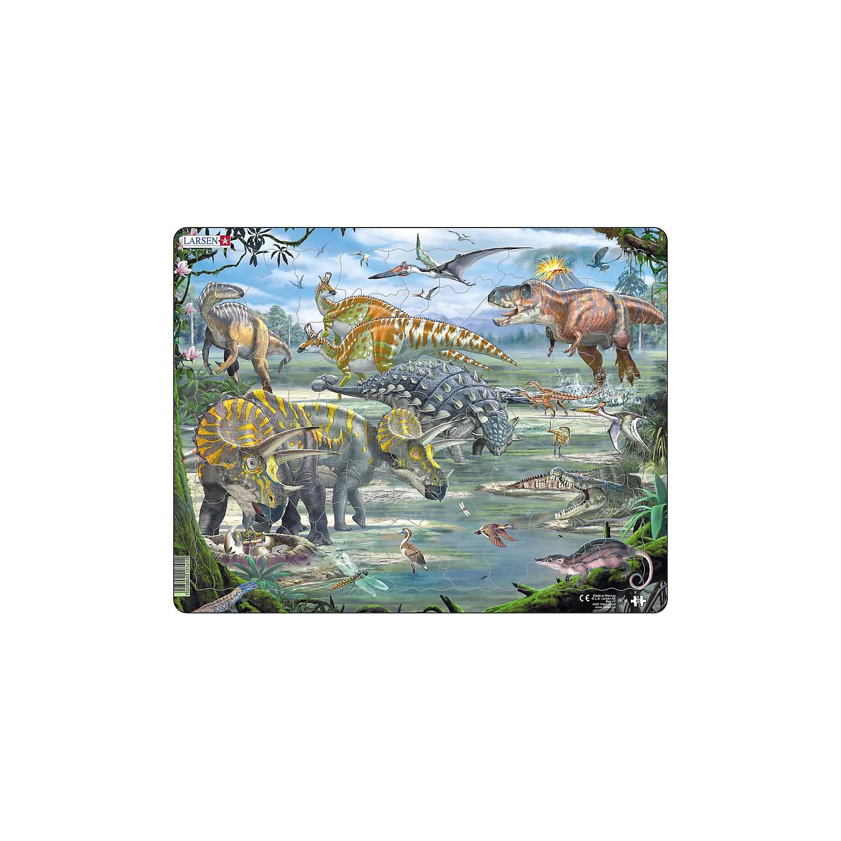 Пазл Динозавры, 65 деталей, LarsenПазлы для малышей<br>Новый пазл Динозавры от компании Larsen придется по вкусу детям, готовящимся к поступлению в школе или учащимся в первом классе! Виды сверху слева направо: Кетцалькоатлус, Микрораптор, Игуанодонт, Ламбеозавр, Тираннозавр Рекс, Трицератопс, Дромеозавр, Анкилозавр, Троодон, Птеродактиль, Крокодил, Ящерица, Вегавис, Стрекоза, Симолестес. Увлекательный пазл от знаменитой норвежской компании позволит детям познакомиться с различными видами динозавров. Пазл выполнен в ярких, красочных цветах, а материалы, из которых он сделан, отличаются высоким качеством и абсолютно безопасны для вашего ребенка. Игра с пазлами развивает мелкую моторику рук, внимание, логическое мышление и творческое воображение. В наборе: 65 элементов пазла.<br><br>Ширина мм: 365<br>Глубина мм: 5<br>Высота мм: 285<br>Вес г: 320<br>Возраст от месяцев: 36<br>Возраст до месяцев: 1188<br>Пол: Унисекс<br>Возраст: Детский<br>Количество деталей: 65<br>SKU: 4761477