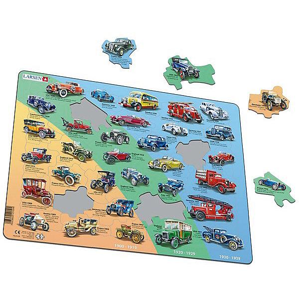Пазл История автомобилей, 30 деталей, LarsenПазлы для малышей<br>Пазлы Ларсен - это прежде всего обучающие пазлы. Они привлекают прежде всего филигранностью исполнения. Сделанные из высококачественного трехслойного картона, они не деформируются и легко берутся в руки. <br><br>Все пазлы снабжены специальной подложкой, благодаря чему их удобно собирать. <br>Многообразие форм вырубки и различные размеры отдельных элементов способствуют развитию мелкой моторики у малышей. <br><br>В наборе: 30 элементов пазла.<br>Ширина мм: 365; Глубина мм: 5; Высота мм: 285; Вес г: 320; Возраст от месяцев: 36; Возраст до месяцев: 1188; Пол: Унисекс; Возраст: Детский; SKU: 4761484;