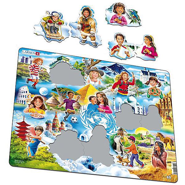 Пазл Дети мира, 15 деталей, LarsenПазлы для малышей<br>Новинка от бренда Ларсен понравится детям, которые уже обучаются в школе или готовятся к поступлению. С помощью разрозненных плоских деталей пазла можно изучить различные народы и страны их проживания. Составив целостное изображение, ребенок увидит множество деталей, которые расскажут ему много нового о нашей планете. <br><br>Игра с пазлами развивает мелкую моторику рук, внимание, логическое мышление и творческое воображение. <br><br>В наборе: 15 элементов пазла.<br><br>Ширина мм: 365<br>Глубина мм: 5<br>Высота мм: 285<br>Вес г: 320<br>Возраст от месяцев: 36<br>Возраст до месяцев: 1188<br>Пол: Унисекс<br>Возраст: Детский<br>SKU: 4761489
