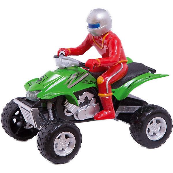 Квадроцикл, металл. свет+звук, с фигуркой, ТЕХНОПАРКМашинки<br>Характеристики:<br><br>• тип игрушки: квадроцикл;<br>• возраст: от 3 лет;<br>• размер: 9х18х17 см;<br>• масштаб: 1:32;<br>• тип батареек: 3хLR 44;<br>• наличие батареек: входят в комплект;<br>• материал: металл, пластик;<br>• бренд: Технопарк;<br>• страна производителя: Китай.<br><br>Технопарк «Квадроцикл» оснащен звуковым и световым модулем. Корпус выполнен из металла, а колесики пластиковые. Модель квадроцикла и водитель в шлеме и специальном костюме выполнены с высокой детализацией в реалистичной манере. Благодаря прочному корпусу, игрушка защищена от повреждений в случае столкновений или падений во время игры. Ее также можно использовать как коллекционную модельку и поставить на полочку среди других транспортных средств.<br>Тематические игры с интересными сюжетами разбудят воображение ребёнка, а манипуляции с игрушкой потренируют мелкую моторику пальцев рук. Масштабные модели от компании «Технопарк» отличаются качественными ударопрочными материалами, продлевающими долговечность изделия тщательным исполнением со вниманием ко всем деталям, и имеют требуемые сертификаты соответствия для детских игрушек.<br>Технопарк «Квадроцикл» можно купить в нашем интернет-магазине.<br>Ширина мм: 130; Глубина мм: 190; Высота мм: 90; Вес г: 270; Возраст от месяцев: 36; Возраст до месяцев: 120; Пол: Мужской; Возраст: Детский; SKU: 4763379;