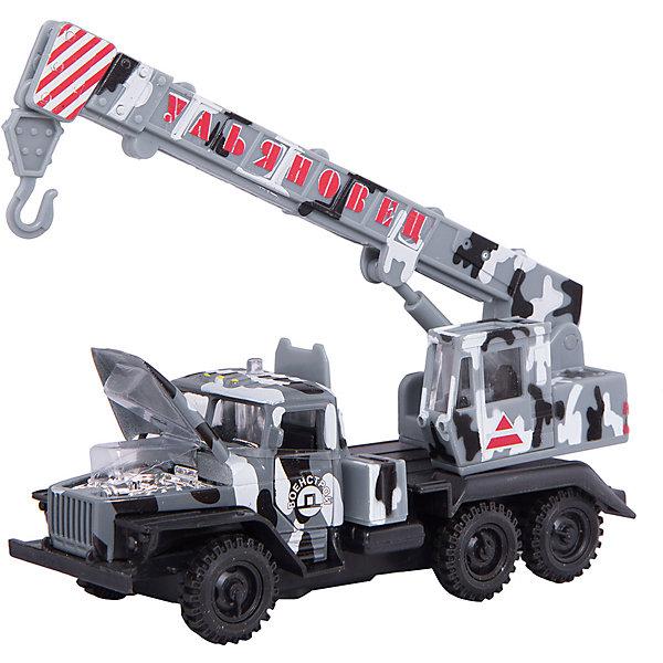 Машина Кран Урал,  свет+звук, инерц., ТЕХНОПАРКМашинки<br>Характеристики:<br><br>• тип игрушки: машина;<br>• возраст: от 3 лет;<br>• размер: 7х21х15 см;<br> • тип батареек: AG13;<br>• наличие батареек: входят в комплект;<br>• масштаб: 1:43;<br>• материал: металл, пластик;<br>• бренд: Технопарк;<br>• страна производителя: Китай.<br><br>Технопарк «Кран Урал» представляет собой модель автомобиля спецтехники «Кран Урал». Она выполнена из качественного и безопасного пластика. Прорезиненные колеса машинки имеют свободный ход. Модель очень реалистична – открываются двери, капот, горят фары, и слышится звук работающего двигателя Игрушка оснащена инерционным ходом. Машинку необходимо отвести назад, затем отпустить - и она быстро поедет вперед.<br>Тематические игры с интересными сюжетами разбудят воображение ребёнка, а манипуляции с игрушкой потренируют мелкую моторику пальцев рук. Масштабные модели от компании «Технопарк» отличаются качественными ударопрочными материалами, продлевающими долговечность изделия тщательным исполнением со вниманием ко всем деталям, и имеют требуемые сертификаты соответствия для детских игрушек.<br>Технопарк «Кран Урал» можно купить в нашем интернет-магазине.<br>Ширина мм: 150; Глубина мм: 210; Высота мм: 70; Вес г: 230; Возраст от месяцев: 36; Возраст до месяцев: 120; Пол: Мужской; Возраст: Детский; SKU: 4763385;