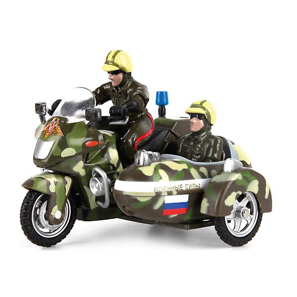 Мотоцикл с люлькой Военные силы, инерц., свет+звук, ТЕХНОПАРКВоенный транспорт<br>Характеристики товара:<br><br>• цвет: хаки<br>• материал: пластик, металл <br>• размер: 10х5х9 см<br>• упаковка: коробка<br>• звуковые эффекты<br>• световые эффекты<br>• хорошая детализация<br>• инерционный<br>• страна бренда: Российская Федерация<br>• страна производства: Китай<br><br>Такая хорошо детализированная игрушка от российского бренда Технопарк станет отличным подарком мальчику. Мотоцикл выглядит практически как настоящий, только уменьшенный. Игрушка дополнена звуковыми и световыми эффектами. Она инерционная: если провезти мотоцикл задним ходом и отпустить - он сам поедет вперед.<br>Игры с такими предметами позволяют ребенку не только весело проводить время, но и развивать важные навыки: мелкую моторику, воображение, логику, мышление. Изделие произведено из сертифицированных материалов, безопасных для детей.<br><br>Мотоцикл с люлькой Военные силы, инерц., свет+звук, от бренда ТЕХНОПАРК можно купить в нашем интернет-магазине.<br>Ширина мм: 150; Глубина мм: 150; Высота мм: 90; Вес г: 210; Возраст от месяцев: 36; Возраст до месяцев: 120; Пол: Мужской; Возраст: Детский; SKU: 4763389;