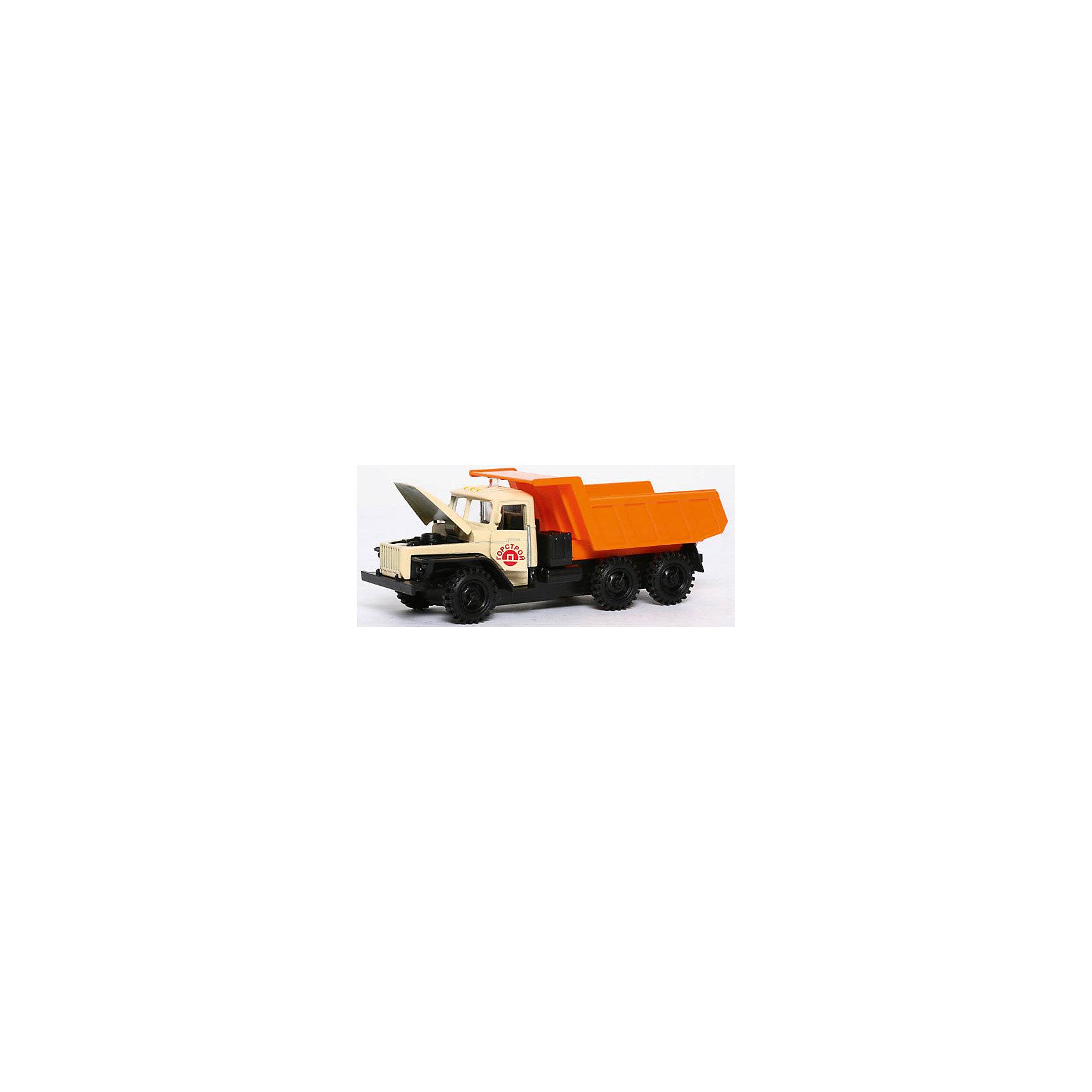 Машина Самосвал Урал,  свет+звук, открыв. двери и капот, инерц., ТЕХНОПАРКМашинки<br>Машина Самосвал Урал, свет+звук, открыв. двери и капот, инерц., ТЕХНОПАРК<br><br>Характеристики:<br><br>- Масштаб: 1:43<br>- Вес: 230 гр.<br>- Размер упаковки: 210х150х70мм.<br>- Материал: металл, пластик<br>- Инерционный механизм.<br>- Батарейка AG13 в комплекте<br><br>Машина Самосвал Урал, свет+звук, инерц., ТЕХНОПАРК - миниатюрная копия настоящего автомобиля в масштабе 1:43. . Модель выполнена  из пластика и металла. Игрушка представляет собой модель автомобиля спецтехники «Самосвал Урал». Она выполнена из качественного и безопасного пластика. Прорезиненные колеса машинки имеют свободный ход. Модель очень реалистична – открываются двери, капот, горят фары, и слышится звук работающего двигателя. Игрушка оснащена инерционным ходом. Машинку необходимо отвести назад, затем отпустить - и она быстро поедет вперед. Ваш ребенок сможет придумывать и обыгрывать различные игровые сюжеты. Порадуйте своего мальчика, подарив ему такую машинку!<br><br>Машину Самосвал Урал, свет+звук, открыв. двери и капот, инерц., ТЕХНОПАРК можно купить в нашем интернет - магазине.<br><br>Ширина мм: 210<br>Глубина мм: 140<br>Высота мм: 70<br>Вес г: 210<br>Возраст от месяцев: 36<br>Возраст до месяцев: 120<br>Пол: Мужской<br>Возраст: Детский<br>SKU: 4763390