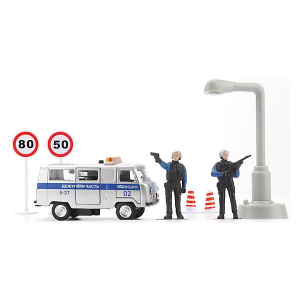Машина  Милиция/Полиция дежурная часть, свет+звук, ТЕХНОПАРКМашинки<br>Характеристики машины Милиция/Полиция дежурная часть:<br><br>- возраст: от 3 лет<br>- пол: для мальчиков<br>- модель: УАЗ.<br>- цвет: серый.<br>- масштаб: 1:43.<br>- комплект: машина, 2 фигурки, аксессуары.<br>- материал: металл.<br>- размер упаковки: 25 * 19 * 10.5 см.<br>- бренд: Технопарк<br><br>Коллекционная модель Уаз Милиция. Дежурная часть серии торговой марки Технопарк обладает высокой реалистичностью за счет большого числа открывающихся элементов (двери, багажник), инерционного механизма, звука и света. В наборе вы найдете фигурки и аксессуары. Такой подарок будет настоящей радостью для ребенка, особенно если он неравнодушен к технике.<br><br>Машину Милиция/Полиция дежурная часть торговой марки Технопарк можно купить в нашем интернет-магазине.<br><br>Ширина мм: 250<br>Глубина мм: 190<br>Высота мм: 110<br>Вес г: 380<br>Возраст от месяцев: 36<br>Возраст до месяцев: 120<br>Пол: Мужской<br>Возраст: Детский<br>SKU: 4763392