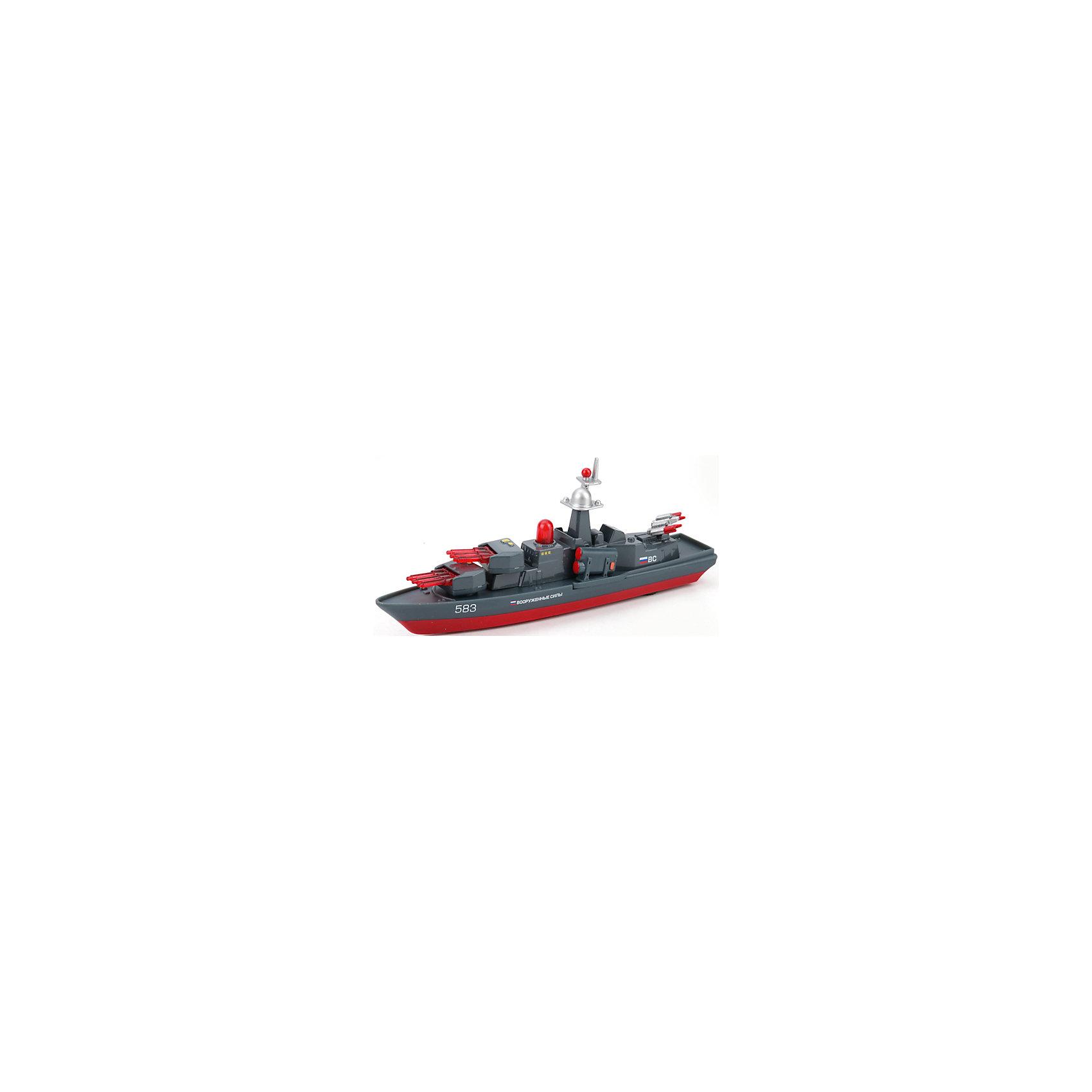 Корабль, металл. инерц., свет+звук, ТЕХНОПАРККорабли и лодки<br>Характеристики корабля:<br><br>- бренд: Технопарк<br>- возраст: от 3 лет<br>- пол:  для мальчиков<br>- цвет: серый.<br>- тип батареек: на батарейках.<br>- материал: металл.<br>- размер игрушки: 5 * 15 * 24 см.<br>- упаковка: картонная коробка блистерного типа.<br>- страна обладатель бренда: Россия.<br><br>Корабль Вооруженные силы 583 - мини-копия настоящего. Красно-серая расцветка сближает сооружение с военным. Все детали корабля проработаны до идеала. Данная модель является коллекционной, она - отличный вариант для подарка тому, кто неравнодушен к военной технике. Если нажать на кнопку корабля, он начнет демонстрировать световые и звуковые эффекты, словно настоящий! Игрушка имеет инерционный механизм движения: если ее толкнуть вперед, она преодолеет солидное расстояние. <br><br>Корабль торговой марки Технопарк можно купить в нашем интернет-магазине.<br><br>Ширина мм: 240<br>Глубина мм: 150<br>Высота мм: 50<br>Вес г: 200<br>Возраст от месяцев: 36<br>Возраст до месяцев: 120<br>Пол: Мужской<br>Возраст: Детский<br>SKU: 4763398