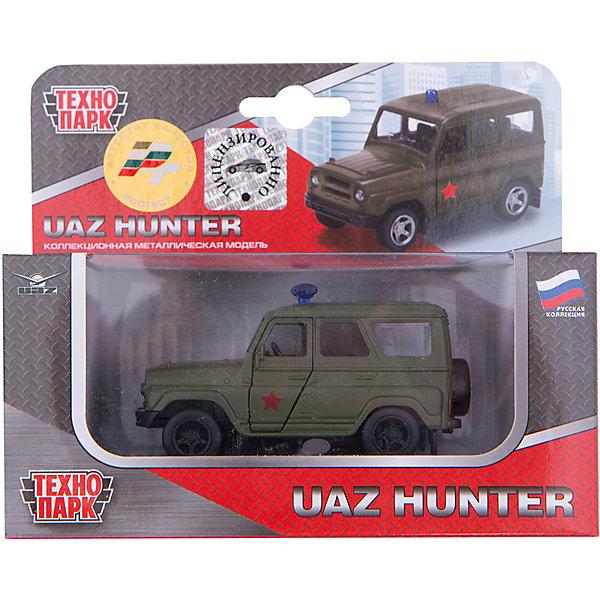 Машина Уаз Hunter, открыв. двери, инерц., ТЕХНОПАРКМашинки<br>Характеристики:<br><br>• тип игрушки: машина;<br>• возраст: от 3 лет;<br>• размер: 6х15х13 см;<br>• масштаб: 1:43;<br>• материал: металл, пластик;<br>• бренд: Технопарк;<br>• страна производителя: Китай.<br><br>Машина Технопарк «Уаз Hunter»  выполнена точной уменьшенной копией реального автомобиля в масштабе 1/50. Кузов модели выполнен из металла, реалистично исполненный салон из пластика. У коллекционной модели открываются передние двери, кузов имеет цвет зеленый с красной звездой. <br><br>Машинка непременно понравится каждому мальчишке, с ней можно придумать массу увлекательных сюжетов для игры со служебными машинками, и также игрушка может стать достойным украшением коллекции маленьких масштабных копий. Игрушка выполнена точной масштабной копией автомобиля Уаз HUNTER военный. Модель машинки выполнена из металла с добавлением некоторых элементов из качественного пластика. <br><br>На кузове установлены сигнальные маячки. Автомобиль имеет функциональные открывающиеся передние двери, что добавляет ей реалистичности. Сквозь прозрачные стёкла можно рассмотреть подробно исполненный салон авто. Колёса автомобиля с резиновыми шинами, крутящиеся, благодаря чему игрушку можно катать по поверхности. Автомобиль снабжён инерционным механизмом, благодаря чему способен проехать большое расстояние после лёгкого толчка вперед. Мальчишки с удовольствием поиграют с моделью машины, совершенствуя мелкую моторику рук и развивая фантазию и воображение. <br><br>Машину Технопарк «Уаз Hunter» можно купить в нашем интернет-магазине.<br>Ширина мм: 150; Глубина мм: 130; Высота мм: 60; Вес г: 130; Возраст от месяцев: 36; Возраст до месяцев: 120; Пол: Мужской; Возраст: Детский; SKU: 4763399;