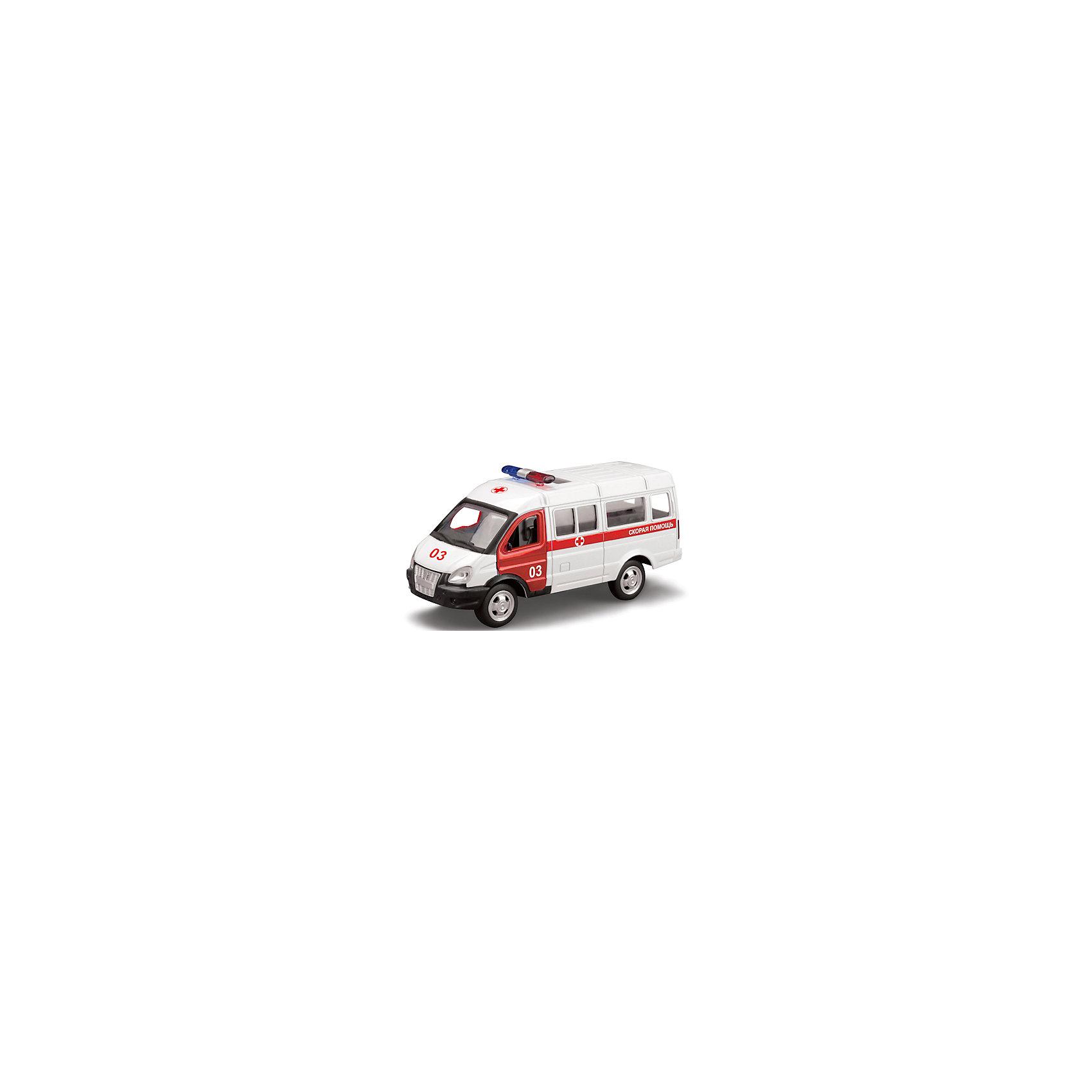 ТЕХНОПАРК Машина Газель Скорая помощь, открыв.двери, инерц., ТЕХНОПАРК технопарк машина технопарк волга 21