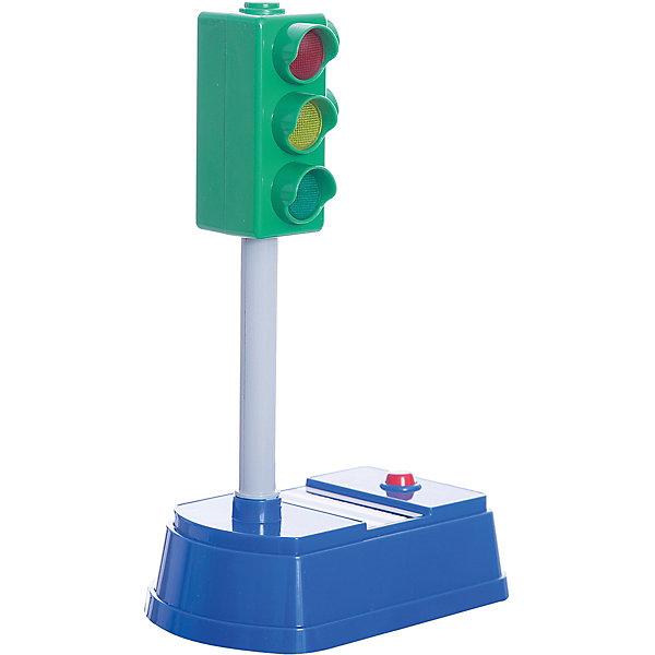 Светофор, 21см большой, свет+звук, ТЕХНОПАРКДорожные знаки и коврики<br>Светофор, 21см большой, свет+звук, ТЕХНОПАРК<br><br>Характеристики:<br><br>• Высота: 21 см<br>• Цвет: серый, синий, зеленый<br>• Возраст: от 3 лет<br>• Работает от батареек<br><br>Данная игрушка помогает ребенку узнать о правилах дорожного движения, закрепить цвета на светофоре и разобраться в системе кому и где загорается сигнал. Игрушка двусторонняя: с одной стороны - светофор для автомобилей, с другой - для пешеходов. Кнопка на панели переключает цвета, а система озвучивает цвет. Это помогает малышу в игровой форме выучить важное правило.<br><br>Светофор, 21см большой, свет+звук, ТЕХНОПАРК можно купить в нашем интернет-магазине.<br><br>Ширина мм: 150<br>Глубина мм: 260<br>Высота мм: 100<br>Вес г: 360<br>Возраст от месяцев: 36<br>Возраст до месяцев: 120<br>Пол: Мужской<br>Возраст: Детский<br>SKU: 4763408