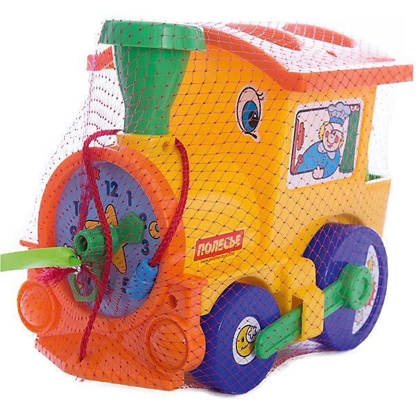 Занимательный паровоз, ПолесьеРазвивающие игрушки<br>Характеристики товара:<br><br>• возраст: от 12 мес.<br>• материал: пластик.<br>• размер игрушки: 22 х 15 х 18 см.<br>• страна производитель: Беларусь.<br><br>Яркий сортер займет ребенка ни на один час. В крыше имеются отверстия для объемных геометрических фигурок. Занятия с сортером помогут малышу развить логические навыки и узнать новые формы предметов.<br><br>Кроме того, сортер-паровозик можно использовать и в качестве каталки, возя его с собой за веревочку. Во время передвижения пластиковые фигурки будут весело греметь внутри. Использовать игрушку можно как дома, так и на улице.<br><br>Занимательный паровоз, Полесье можно купить в нашем интернет-магазине.<br><br>Ширина мм: 220<br>Глубина мм: 150<br>Высота мм: 185<br>Вес г: 460<br>Возраст от месяцев: 12<br>Возраст до месяцев: 36<br>Пол: Унисекс<br>Возраст: Детский<br>SKU: 4763419