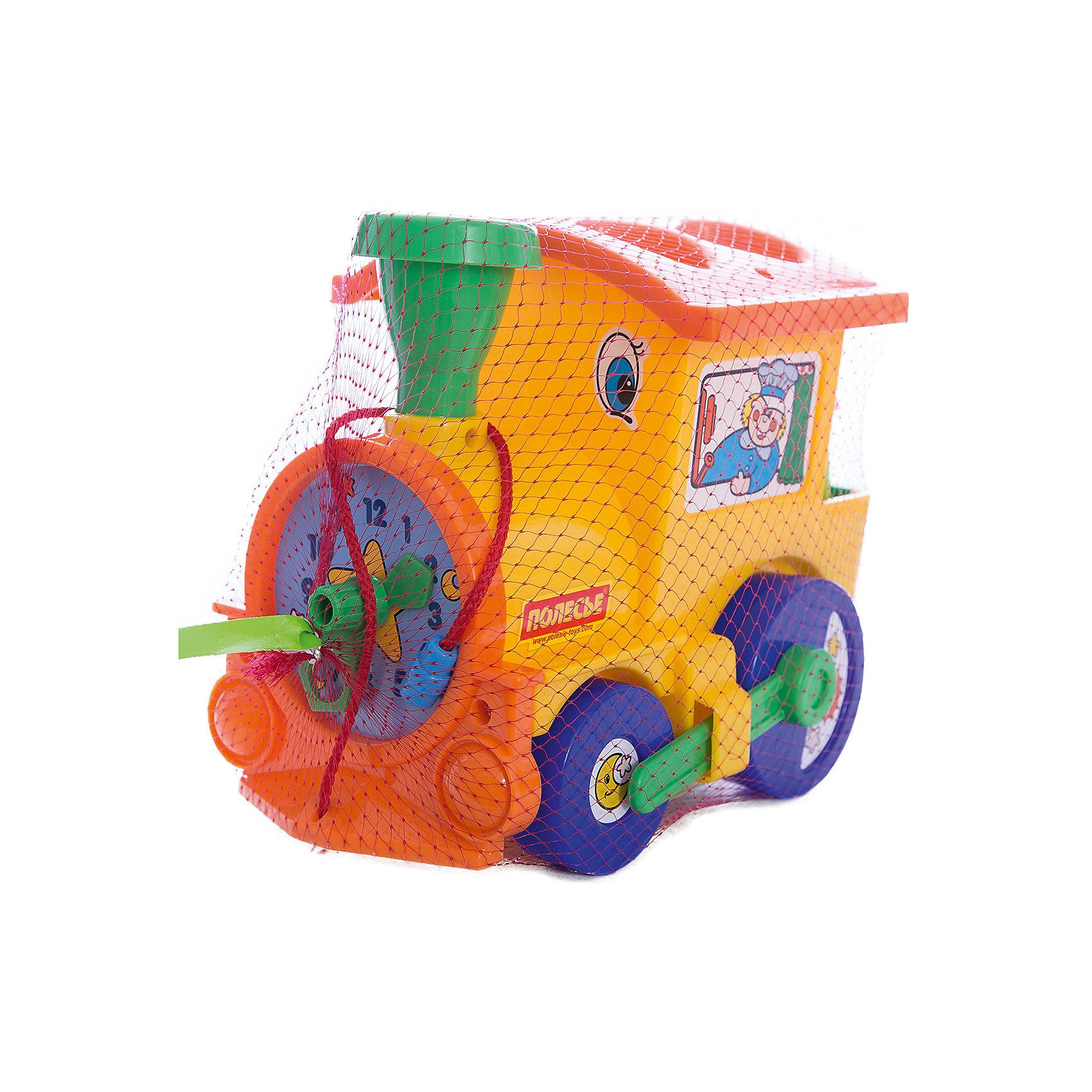 Занимательный паровозик, ПолесьеИгрушки для малышей<br>Занимательный паровозик, Полесье.<br><br>Характеристики:<br><br>- В комплекте: паровозик, шесть фигур, шесть наклеек<br>- Размер: 18x22x14 см.<br>- Длина шнурка: 27 см.<br>- Материал: прочный высококачественный пластик<br>- Упаковка: сетка<br><br>Занимательный паровозик от торговой марки Полесье является одновременно каталкой и сортером. В крыше паровозика имеется четыре отверстия для овала, круга, трапеции и треугольника. Также имеется ещё две фигурки – прямоугольник и пятиугольник, которые надеваются на специальные рельефные выступы, которые находятся в тендере паровозика. Все представленные фигурки разноцветные. Паровозик имеет радужную окраску, жёлтый корпус, оранжевую крышу, синие колёса и зелёную трубу. Паровоз ведут наклеенный машинист и его помощник. А сам паровоз смотрит на мир широко раскрытыми наклеенными глазами. Впереди у паровозика часики с подвижными стрелками. Две стрелки паровозика крутятся одновременно, а на большой стрелке имеется круглое окошечко, в котором можно увидеть цифру, на которой остановится стрелка. В игровой комплект входит шесть наклеек для фигурок, кораблик, месяц, пальма, остров, месяц со звездами и солнце. К задним колесам прикреплен поршень, который движется во время езды как у настоящего паровоза. С такой игрушкой не соскучишься. Ваш малыш научится определять время, выучит названия цветов и геометрические формы, разовьёт пространственное мышление, воображение, логику или просто будет катать яркий паровозик за веревочку.<br><br>Занимательный паровозик, Полесье можно купить в нашем интернет-магазине.<br><br>Ширина мм: 220<br>Глубина мм: 150<br>Высота мм: 185<br>Вес г: 460<br>Возраст от месяцев: 12<br>Возраст до месяцев: 36<br>Пол: Унисекс<br>Возраст: Детский<br>SKU: 4763419