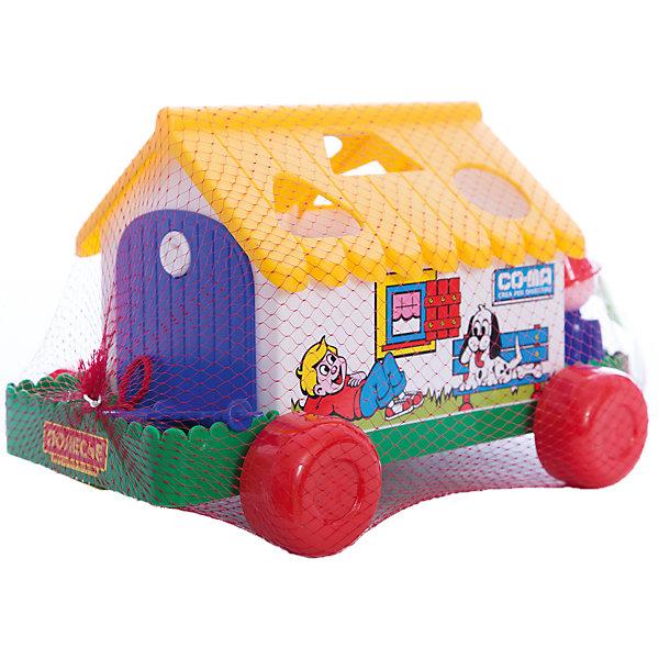 Игровой дом, ПолесьеРазвивающие игрушки<br>Характеристики товара:<br><br>• возраст: от 12 мес.<br>• материал: пластик.<br>• комплект: сортер-каталка, ключик, формочки.<br>• размер игрушки: 25х19 см.<br>• страна производитель: Беларусь.<br><br>Многофункциональная игрушка от известной белорусской компании «Полесье» может использоваться как сортер, а также как каталка. <br><br>У домика - широкие устойчивые колесики. К передней части сортера крепится веревочка, за которую домик малыш будет катать за собой. В крыше проделаны прорези, которые соответствуют формочкам в комплекте. Формочки, которые упали в домик через отверстия на крыше, можно достать через дверку. Но тут малыша ждет сюрприз, ведь одна из двух дверок закрыта на замочек, и открыть ее можно только ключиком из набора. <br><br>Игра с сортером поможет ребенку развить логическое и образное мышление, освоить новые геометрические формы.<br><br>Игровой дом, Полесье можно купить в нашем интернет-магазине.<br>Ширина мм: 263; Глубина мм: 180; Высота мм: 165; Вес г: 240; Возраст от месяцев: 12; Возраст до месяцев: 36; Пол: Унисекс; Возраст: Детский; SKU: 4763420;