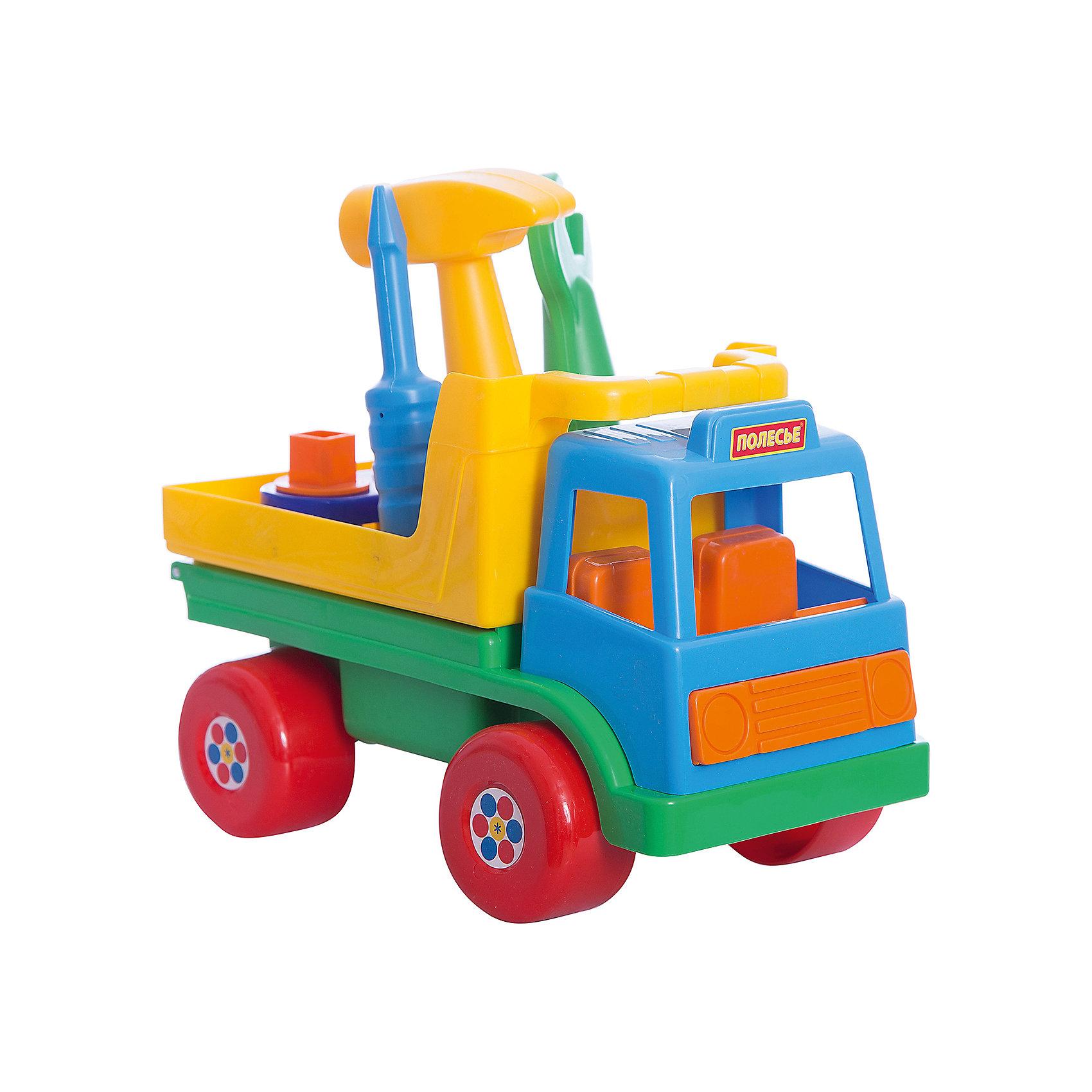 Автомобиль Техпомощь, ПолесьеМашинки и транспорт для малышей<br>Автомобиль Техпомощь, Полесье.<br><br>Характеристики:<br><br>- В комплекте: машинка, молоток, отвертка, гаечный ключ, три гвоздя, три болта<br>- Размер машинки: 26x15,5x17.5 см.<br>- Длина отвертки, гаечного ключа и молотка: 14 см.<br>- Материал: пластик<br><br>Яркий автомобиль Техпомощь от фирмы Полесье - это развивающая игрушечная машинка с набором инструментов. Кузов машинки откидывается и превращается в игровую платформу с отверстиями. В самые маленькие отверстия молоточком можно забивать игрушечные гвоздики. В отверстия побольше с резьбой, отверткой или гаечным ключом завинчивать болтики. Форма инструментов разработана с учетом размера детских рук. Хранить инструменты начинающий механик может в кузове автомобиля: для этого в нем предусмотрены специальные места. Кабина автомобиля оснащена сиденьями. В нее можно посадить подходящую по размеру мини-фигурку. Благодаря пластиковым колесам со свободным ходом машина может легко преодолеть любые препятствия. Игрушка изготовлена из безопасного пластика, отличается высокой прочностью и отличным качеством сборки.<br><br>Автомобиль Техпомощь, Полесье можно купить в нашем интернет-магазине.<br><br>Ширина мм: 260<br>Глубина мм: 155<br>Высота мм: 175<br>Вес г: 360<br>Возраст от месяцев: 36<br>Возраст до месяцев: 96<br>Пол: Мужской<br>Возраст: Детский<br>SKU: 4763422