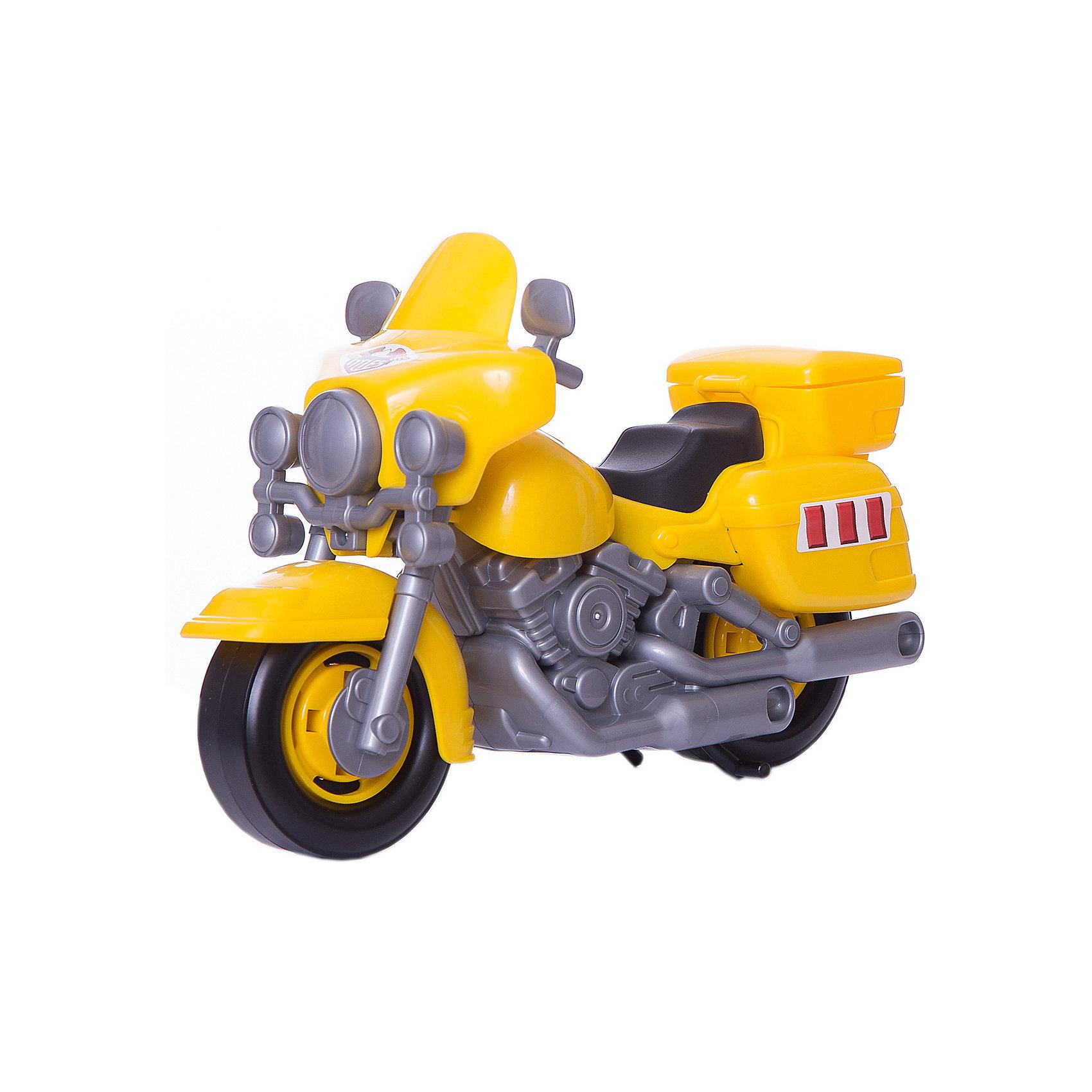 Мотоцикл полицейский Харлей, ПолесьеМашинки<br>Для маленьких лихачей в ассортименте игрушек компании «Полесье» представлены мотоциклы. С ними сценарии для игр становятся намного увлекательнее, а дети знакомятся с многообразием транспортных средств. Мотоцикл можно использовать в качестве средства передвижения игрушечного героя. В ходе игры можно рассмотреть потенциал ребёнка к спортивным соревнованиям, в которых участвуют мотоциклы. Быть может, когда малыш вырастет, он станет известным мотогонщиком! Реалистичность игрушки развивает у ребёнка интерес к устройству мотоцикла. Это может стать ещё одним важным фактором в выборе профессии!<br><br>Ширина мм: 270<br>Глубина мм: 115<br>Высота мм: 180<br>Вес г: 270<br>Возраст от месяцев: 36<br>Возраст до месяцев: 96<br>Пол: Мужской<br>Возраст: Детский<br>SKU: 4763424