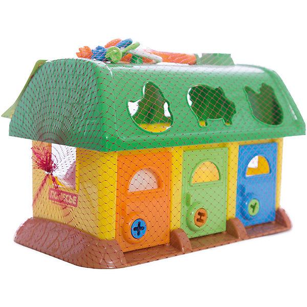 Домик для зверей, ПолесьеРазвивающие игрушки<br>Домик для зверей, Полесье.<br><br>Характеристики:<br><br>-В наборе: домик, 6 разноцветных деталей-вкладышей в форме животных, связка ключей<br>- Размер домика: 26х14х17 см.<br>- Материал: высококачественная пластмасса<br>- Упаковка: сетка<br><br>Красочный сортер Домик для зверей - это игрушка, которая не оставит равнодушным ни одного ребенка! Яркие детали, веселые цвета и непростые задачки надолго удерживают внимание малыша. В наборе шесть разноцветных деталей в форме животных, а в крыше домика есть отверстия, в которые нужно вставлять вкладыши: свинку, утку, курочку, белку, зайца и собаку. Доставать зверюшек можно через двери, замки которых отпираются ключиками соответствующего цвета: розовый замок — розовым ключиком, синий — синим и так далее. Занятия с игрушкой развивают логическое мышление малыша, координацию движений и моторику рук, а также знакомит ребенка с геометрическими фигурами, цветами.<br><br>Домик для зверей, Полесье можно купить в нашем интернет-магазине.<br><br>Ширина мм: 280<br>Глубина мм: 155<br>Высота мм: 345<br>Вес г: 510<br>Возраст от месяцев: 12<br>Возраст до месяцев: 36<br>Пол: Унисекс<br>Возраст: Детский<br>SKU: 4763426