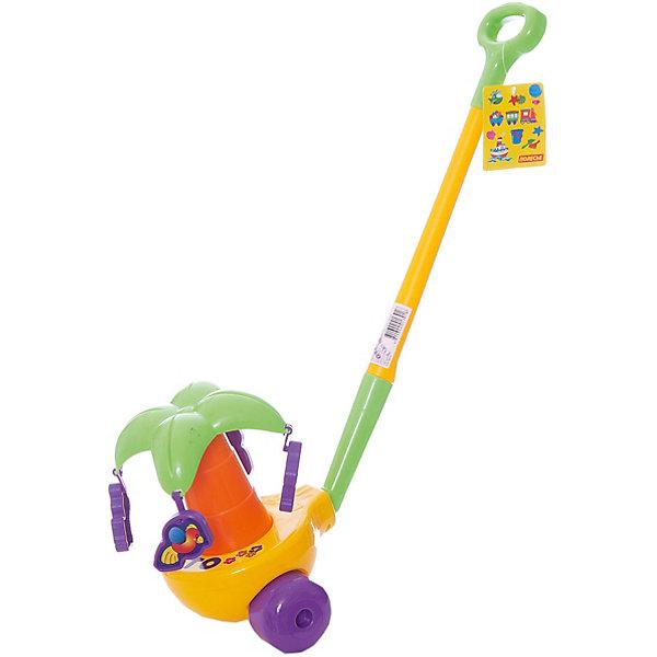 Каталка Пальма с ручкой, ПолесьеКаталки и качалки<br>Характеристики товара:<br><br>• возраст: от 2 лет<br>• цвет: желтый, фиолетовый, зеленый.<br>• тип батареек: 3 х C / LR14 1.5V (малые бочонки).<br>• материал: пластик.<br>• размер игрушки каталки: 19х17х22 см.<br>• длина ручки каталки: 50 см.<br>• страна обладатель бренда: Беларусь.<br><br>При движении каталки забавные обезьянки и попугайчики устраивают вокруг пальмы веселый танец: они кружатся, словно на карусельке, и подпрыгивают, чем приводят малыша в восторг! <br><br>Кроме того, танец сопровождается веселыми «разговорами» обезьянок и звонким щебетанием птичек. Чем быстрее ребенок будет катить пальму, тем выше начнут прыгать попугайчики и обезьянки.<br><br>Каталка Пальма с ручкой, Полесье можно купить в нашем интернет-магазине.<br><br>Ширина мм: 800<br>Глубина мм: 480<br>Высота мм: 300<br>Вес г: 460<br>Возраст от месяцев: 12<br>Возраст до месяцев: 36<br>Пол: Унисекс<br>Возраст: Детский<br>SKU: 4763429