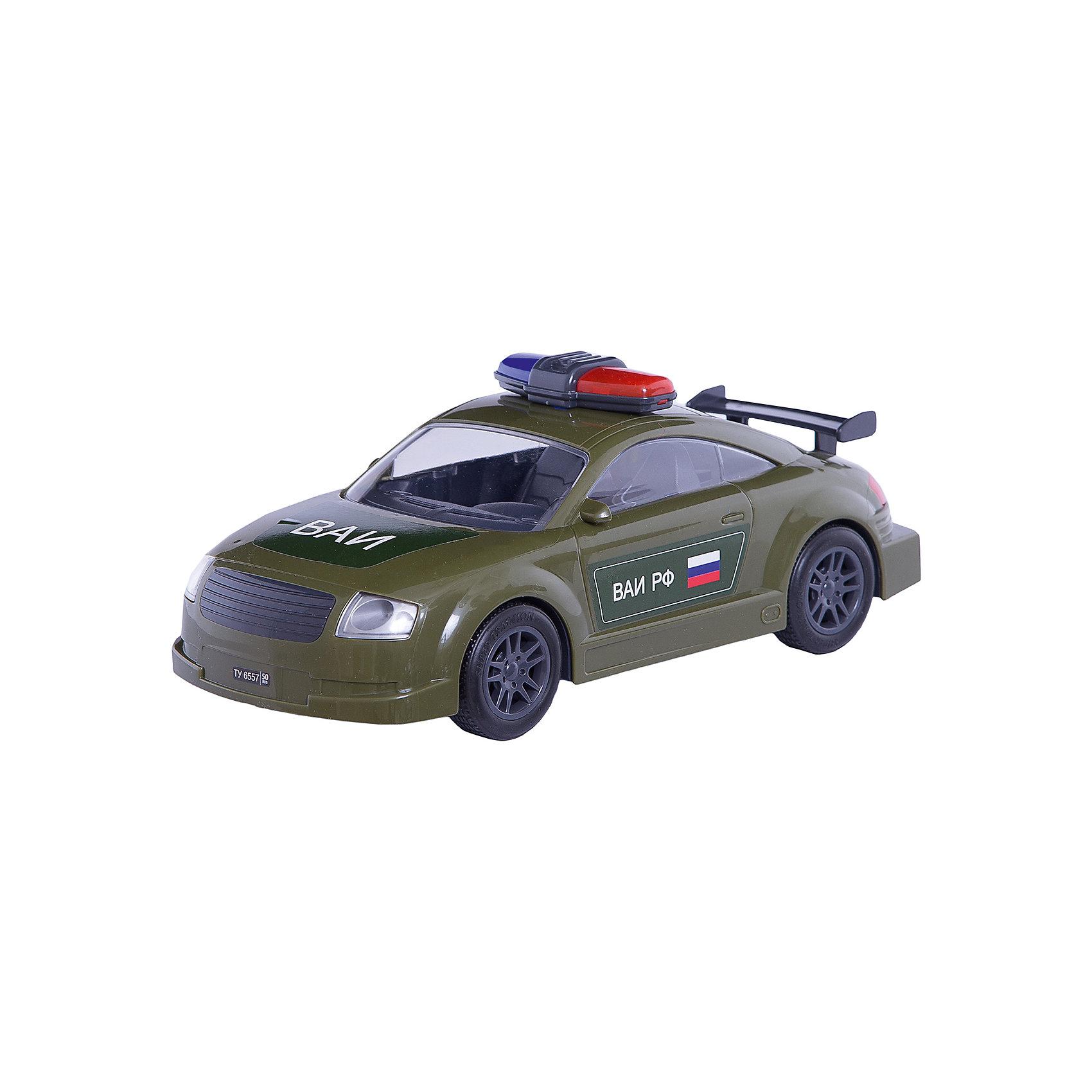 АвтомобильВоенная автоинспекция, инерц., ПолесьеВоенный транспорт<br>АвтомобильВоенная автоинспекция, инерц., Полесье.<br><br>Характеристики:<br><br>- Размер игрушки: 27х10,5х11 см.<br>- Материал: прочный пластик, резина<br><br>Инерционный автомобиль «Военная автоиспекция» - это точная копия настоящей машины. Машина имеет мигалку, спойлер, резиновые колеса и очень реалистичную символику на корпусе. Инерционный механизм позволяет машине продолжать свое движение после запуска. Колеса надежно закреплены на металлических осях. Ребенок будет в восторге от игрушки, ведь на машине можно сопровождать колонну военной техники или устроить настоящую погоню за нарушителями.<br><br>АвтомобильВоенная автоинспекция, инерц., Полесье можно купить в нашем интернет-магазине.<br><br>Ширина мм: 450<br>Глубина мм: 335<br>Высота мм: 265<br>Вес г: 370<br>Возраст от месяцев: 36<br>Возраст до месяцев: 96<br>Пол: Мужской<br>Возраст: Детский<br>SKU: 4763442