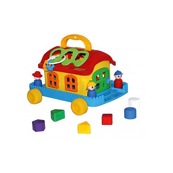 Сказочный домик на колесиках, ПолесьеРазвивающие игрушки<br>Сказочный домик на колесиках, Полесье.<br><br>Характеристики:<br><br>-В наборе: каталка-домик, 6 разноцветных блоков, фигурки человечков, связка ключей<br>- Размер домика: 32х26х18.4 см.<br>- Материал: высококачественная пластмасса<br>- Упаковка: сетка<br><br>Развивающая игрушка Сказочный домик является одновременно каталкой и сортером. В наборе шесть разноцветных деталей различной формы, а в крыше домика есть отверстия, в которые нужно вставлять вкладыши: круг, треугольник, квадрат, трапецию, шестиугольник, пятиугольник. Доставать детальки можно через две двери, закрывающиеся каждая на свой ключ. В наборе имеются фигурки человечков. Они легко устанавливаются на платформе при помощи специальных штырьков. Игрушка окрашена в яркие радужные цвета. Домик стоит на подставке с колесиками, при желании его можно катать. На крыше домика предусмотрена ручка для переноске. Занятия с игрушкой развивают логическое мышление малыша, координацию движений и моторику рук, а также знакомит ребенка с геометрическими фигурами, цветами.<br><br>Сказочный домик на колесиках, Полесье можно купить в нашем интернет-магазине.<br><br>Ширина мм: 320<br>Глубина мм: 260<br>Высота мм: 184<br>Вес г: 820<br>Возраст от месяцев: 24<br>Возраст до месяцев: 60<br>Пол: Унисекс<br>Возраст: Детский<br>SKU: 4763444