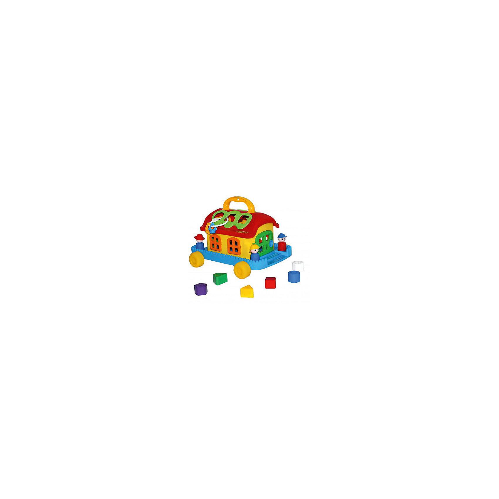 Сказочный домик на колесиках, ПолесьеСортеры<br>Сказочный домик на колесиках, Полесье.<br><br>Характеристики:<br><br>-В наборе: каталка-домик, 6 разноцветных блоков, фигурки человечков, связка ключей<br>- Размер домика: 32х26х18.4 см.<br>- Материал: высококачественная пластмасса<br>- Упаковка: сетка<br><br>Развивающая игрушка Сказочный домик является одновременно каталкой и сортером. В наборе шесть разноцветных деталей различной формы, а в крыше домика есть отверстия, в которые нужно вставлять вкладыши: круг, треугольник, квадрат, трапецию, шестиугольник, пятиугольник. Доставать детальки можно через две двери, закрывающиеся каждая на свой ключ. В наборе имеются фигурки человечков. Они легко устанавливаются на платформе при помощи специальных штырьков. Игрушка окрашена в яркие радужные цвета. Домик стоит на подставке с колесиками, при желании его можно катать. На крыше домика предусмотрена ручка для переноске. Занятия с игрушкой развивают логическое мышление малыша, координацию движений и моторику рук, а также знакомит ребенка с геометрическими фигурами, цветами.<br><br>Сказочный домик на колесиках, Полесье можно купить в нашем интернет-магазине.<br><br>Ширина мм: 320<br>Глубина мм: 260<br>Высота мм: 184<br>Вес г: 820<br>Возраст от месяцев: 24<br>Возраст до месяцев: 60<br>Пол: Унисекс<br>Возраст: Детский<br>SKU: 4763444