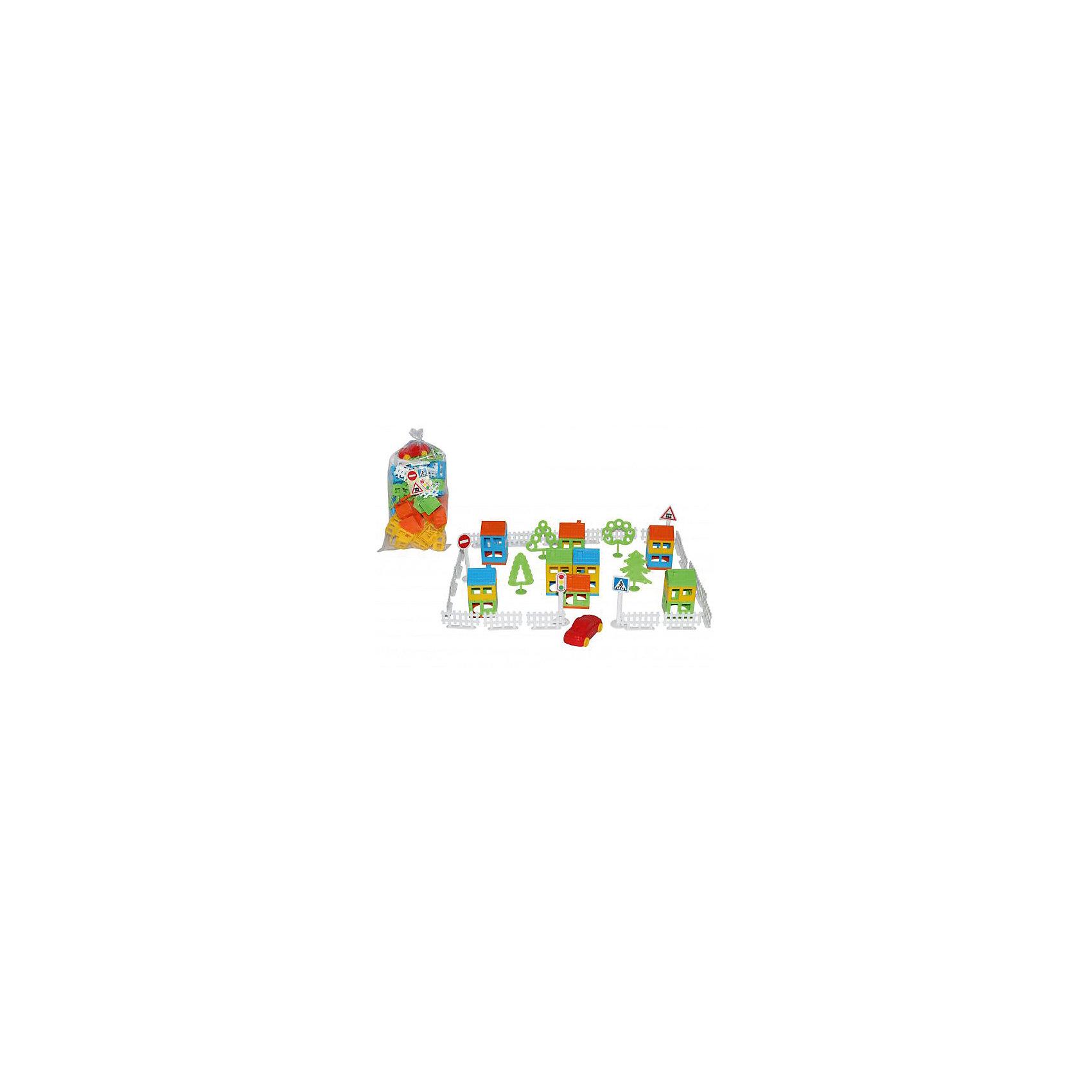 Конструктор Построй свой город, 61 дет., ПолесьеКонструктор Построй свой город, 61 дет., Полесье.<br><br>Характеристики:<br><br>- В наборе: детали конструктора, машинка<br>- Количество деталей: 61 шт.<br>- Материал: высококачественная пластмасса<br>- Размер упаковки: 40х35х23 см.<br>- Упаковка: пакет<br><br>Конструктор Построй свой город станет отличным подарком для ребенка, ведь малыш теперь сам сможет построить город своей мечты. Конструктор включает в себя всё, что нужно для создания города - строительные элементы (стены, крыши), светофор, 3 дорожных знака, автомобиль, 20 деталей забора, 4 дерева. Город, созданный малышом, может стать удивительной площадкой для веселых игр. Все детали выполнены из качественной пластмассы, и окрашены пищевыми красителями. С этим конструктором ребёнок откроет для себя интересный мир моделирования, а также сможет развить фантазию, пространственное мышление и мелкую моторику рук.<br><br>Конструктор Построй свой город, 61 дет., Полесье можно купить в нашем интернет-магазине.<br><br>Ширина мм: 400<br>Глубина мм: 350<br>Высота мм: 230<br>Вес г: 370<br>Возраст от месяцев: 36<br>Возраст до месяцев: 96<br>Пол: Унисекс<br>Возраст: Детский<br>SKU: 4763447