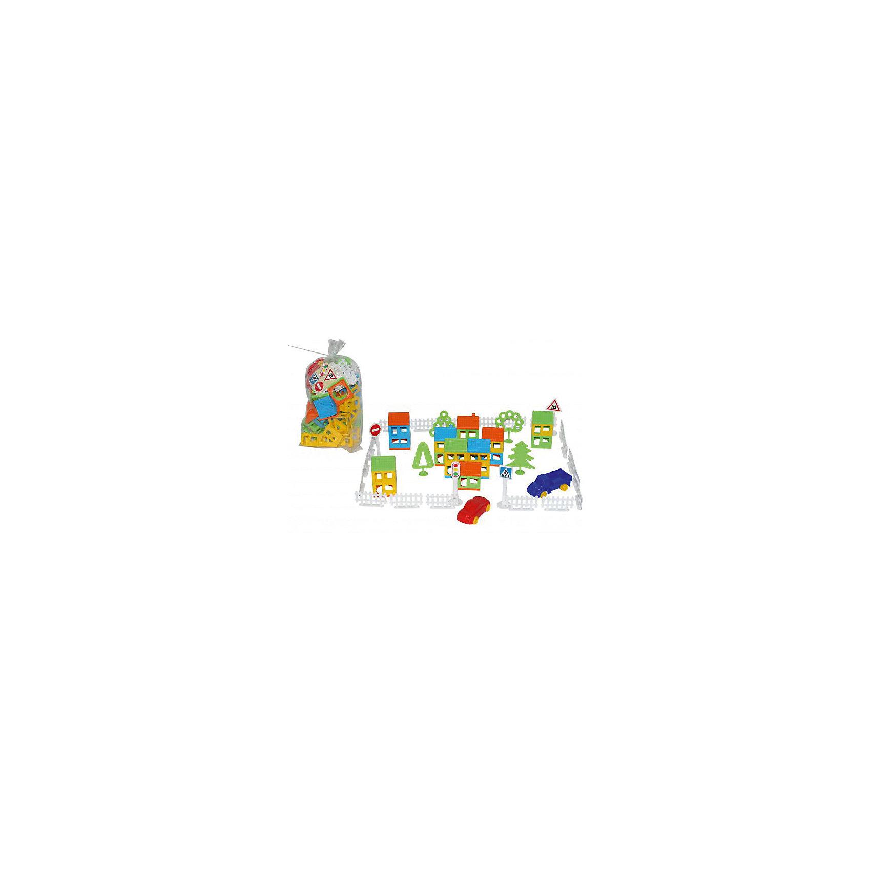 Конструктор Построй свой город, 92 дет., ПолесьеПластмассовые конструкторы<br>Конструктор Построй свой город, 92 дет., Полесье.<br><br>Характеристики:<br><br>- В наборе: детали конструктора, 2 машинки<br>- Количество деталей: 92 штуки<br>- Материал: высококачественная пластмасса<br>- Размер базовой детали-этажа: 4,7х4,7х3 см.<br>- Длина машинки: 8,5 см.<br>- Размер упаковки: 30x18x14 см.<br>- Упаковка: пакет<br><br>Конструктор Построй свой город станет отличным подарком для ребенка, ведь малыш теперь сам сможет построить город своей мечты. Конструктор включает в себя всё, что нужно для создания города - строительные элементы (стены, крыши), светофор, 3 дорожных знака, 2 автомобиля, детали для постройки забора, 4 дерева. Город, созданный малышом, может стать удивительной площадкой для веселых игр. Все детали выполнены из качественной пластмассы, и окрашены пищевыми красителями. С этим конструктором ребёнок откроет для себя интересный мир моделирования, а также сможет развить фантазию, пространственное мышление и мелкую моторику рук.<br><br>Конструктор Построй свой город, 92 дет., Полесье можно купить в нашем интернет-магазине.<br><br>Ширина мм: 160<br>Глубина мм: 120<br>Высота мм: 240<br>Вес г: 600<br>Возраст от месяцев: 36<br>Возраст до месяцев: 96<br>Пол: Унисекс<br>Возраст: Детский<br>SKU: 4763448