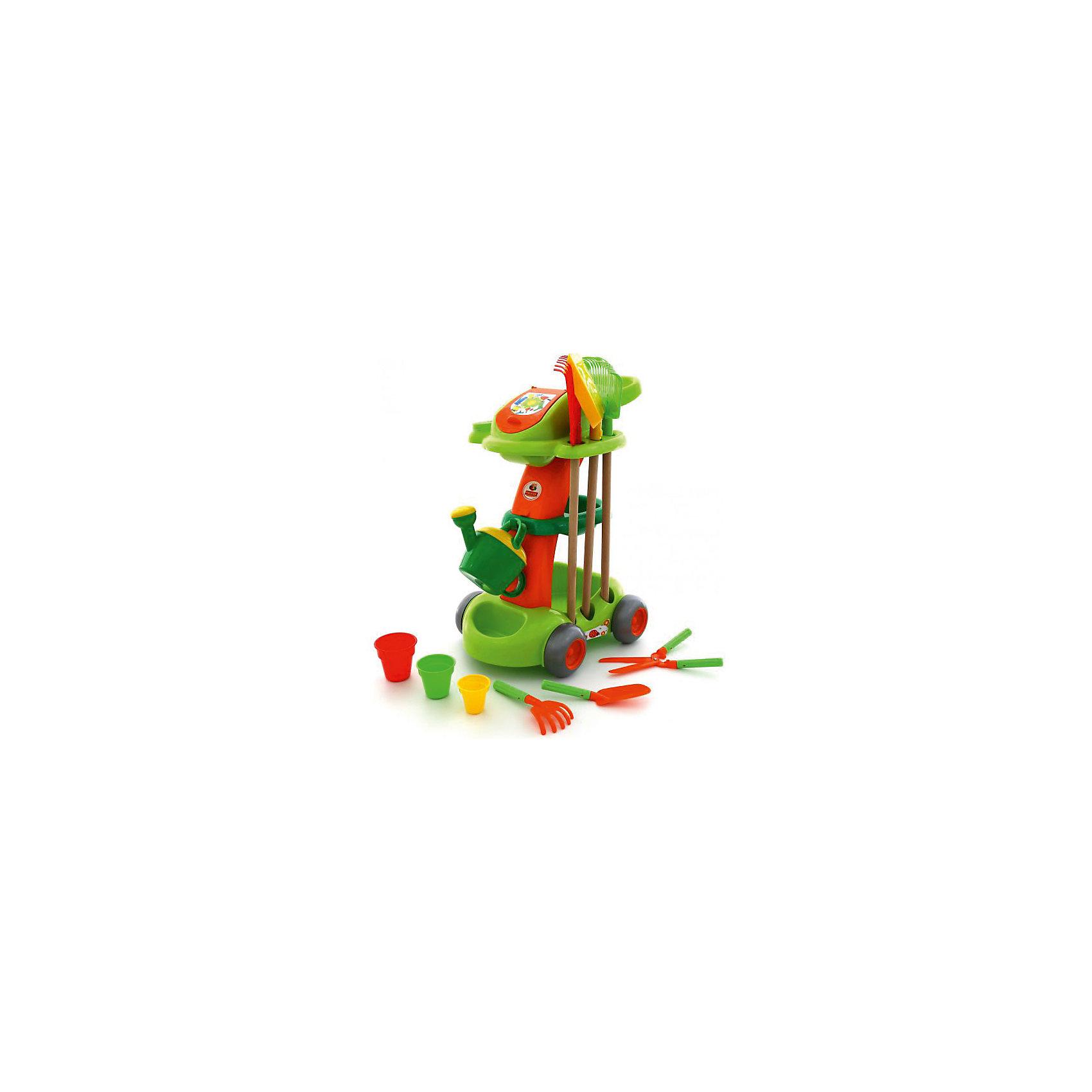 Садовый набор, ПолесьеСадовый набор, Полесье.<br><br>Характеристики:<br><br>-В наборе: тележка садовника, лейка, 3 стаканчика, большие грабли разной ширины (2 шт.), большая лопата, секатор, совок, маленькие грабли, пакет для мусора<br>- Количество предметов: 12<br>- Материал: высококачественная пластмасса, древесина<br>- Размеры: тележка: 50х37,5х69 см, грабли 61х8 и 61х2 см, лопата 63х13,5 см, стаканчики 6,5х6,5, 7,5х8 и 8,5х9 см, лейка 24х16х7,5 см, секатор 28х11,5 см, совок 22х5 мм, маленькие грабли 19,5х8,5 см.<br>- Упаковка: пакет<br>- Размер упаковки: 50 х 38 х 69 см.<br>- Вес: 2,37 кг.<br><br>У вашего маленького помощника теперь есть свои инструменты! Детский садовый набор от торговой марки Полесье – это большая удобная тележка, на которой размещается все необходимое для ухода за растениями. Теперь на даче вы будете трудиться всей семьей. Ваш малыш с энтузиазмом вместе с вами вскопает и разрыхлит грядки, польет всходы, подрежет веточки. Главной частью набора является большая яркая тележка. В ее отделах и на полочках ловко размещаются все инструменты, в верхней части есть отсек с откидывающейся крышкой. Сбоку привешивается пакет для мусора. Поверхность тележки украшена наклейками. Несмотря на свои внушительные размеры, тележка легкая, поэтому с ней управится даже самый юный садовник. У тележки широкие колеса, поэтому она легко перемещается по любой поверхности. Набор выполнен из качественной гладкой пластмассы. Большие грабли и лопата насажены на тщательно отшлифованный деревянный черенок. Ручки маленьких инструментов имеют шероховатую рельефную поверхность, благодаря чему не выскальзывают из детских ладоней. Предметы набора окрашены в яркие цвета: зеленый, желтый, оранжевый, синий и красный. Сюжетно-ролевая игра с набором садового инвентаря воспитает в ребенке ответственность, трудолюбие, самостоятельность.<br><br>Садовый набор, Полесье можно купить в нашем интернет-магазине.<br><br>Ширина мм: 500<br>Глубина мм: 375<br>Высота мм: 690<br>Вес г: 3250<br>Возраст
