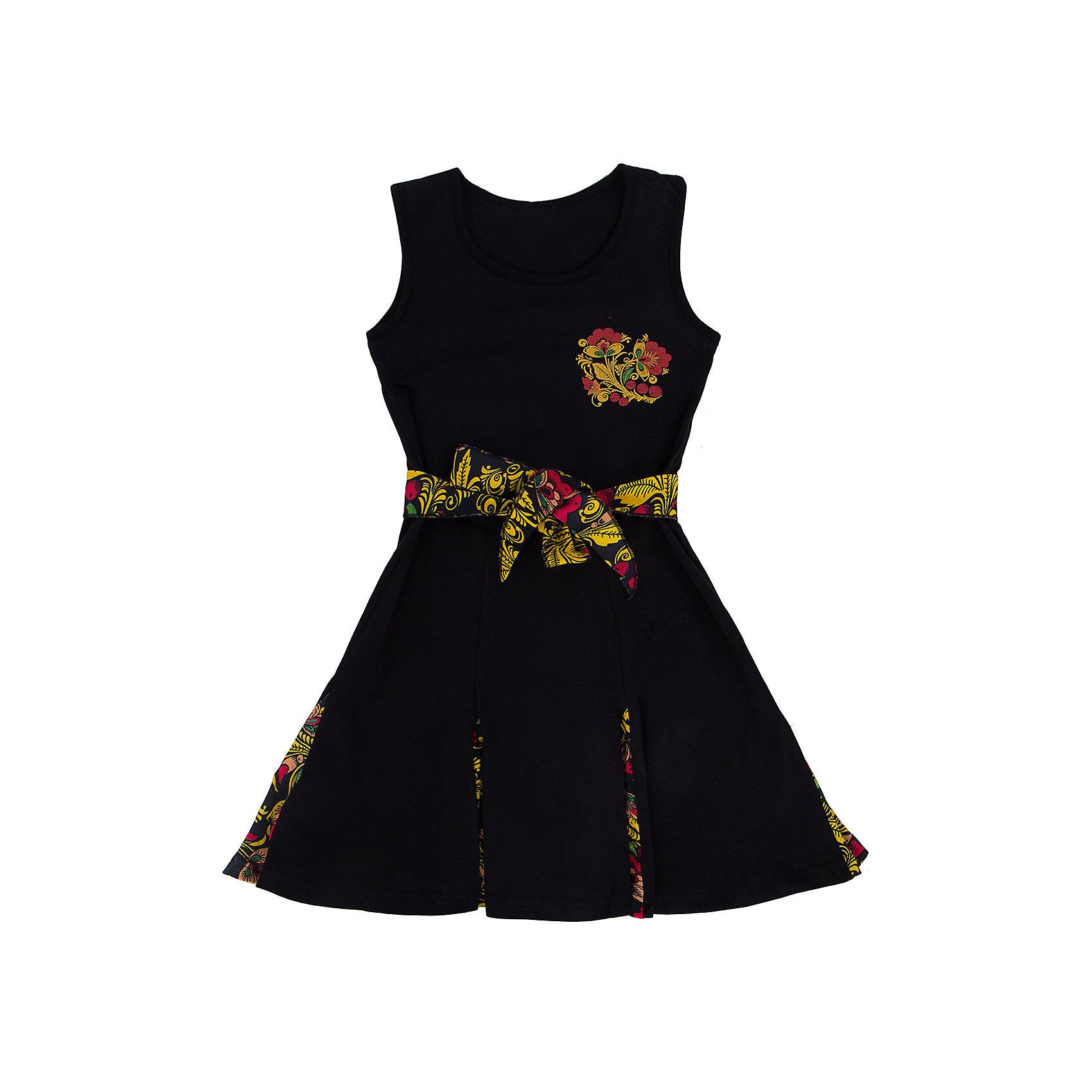 Платье для девочки АпрельПлатья и сарафаны<br>Девчонки те ещё модницы! Кажется, желание выглядеть красиво у них заложено на генном уровне. «Почему бы и нет?», — говорим мы и при выборе одежды для маленьких принцесс обращаем внимание не только на качество, но и на привлекательный внешний вид. Платье для девочки разноцветное — это модель, которая идеально подходит по всем параметрам, потому что она изготовлена из безопасных материалов и имеет необходимые сертификаты качества, скроена с учётом всех важных особенностей строения детской фигуры, за счёт чего обеспечивает исключительный комфорт, отличается дизайном, который определённо понравится девочке.<br><br>Дополнительная информация:<br> <br>- покрой: приталенный<br>- рисунок: черный+ хохлома<br>- длина рукава: без рукавов<br>- длина изделия: по спинке: 63 см<br>- вид застежки: без застежки<br>- фактура материала: трикотажный<br>- длина юбки: мини<br>- тип карманов: без карманов<br>- по назначению: повседневный стиль<br>- уход за вещами: бережная стирка при t не более 40С<br>- назначение: повседневная<br>- сезон: лето<br>- пол: девочки<br>- фирма-производитель: Апрель<br>- страна производитель: Россия<br>- комплектация: платье<br>- коллекции Хохлома<br>Платье для девочки коллекции Хохлома от торговой марки Апрель можно купить в нашем интернет-магазине.<br><br>Ширина мм: 236<br>Глубина мм: 16<br>Высота мм: 184<br>Вес г: 177<br>Цвет: разноцветный<br>Возраст от месяцев: 84<br>Возраст до месяцев: 96<br>Пол: Женский<br>Возраст: Детский<br>Размер: 128,122,134,140,116<br>SKU: 4763618