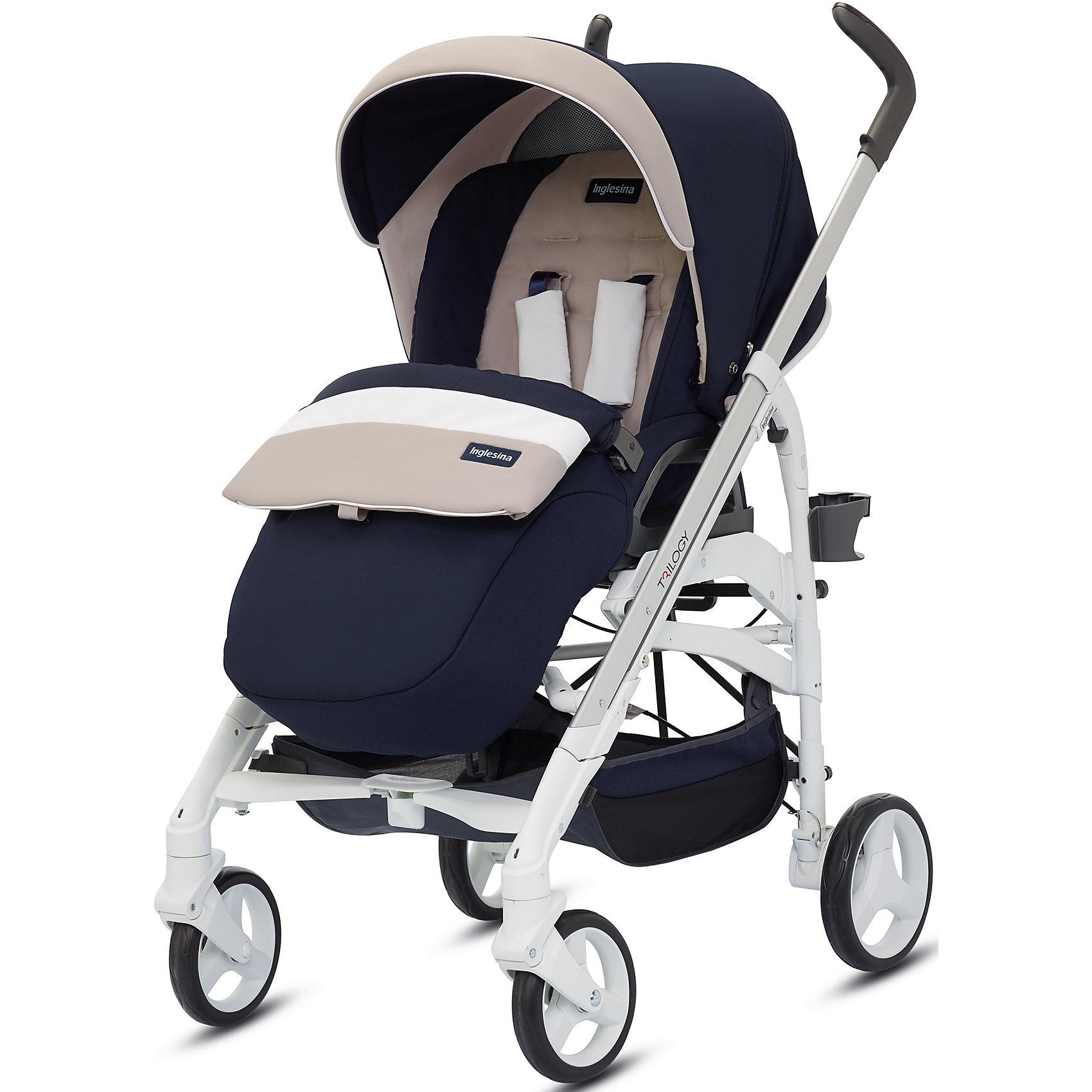 Прогулочная коляска Inglesina Trilogy, CookieПрогулочные коляски<br>Прогулочная коляска Trilogy - прекрасный вариант для малышей и их родителей! Модель имеет прочную алюминиевую раму, систему амортизации, передние поворотные колеса, с возможностью фиксации. Модель легко складывается, имеет ножной тормоз и небольшую ширину шасси, благодаря которой коляска войдет даже в самый узкий дверной проем. С помощью системы Easy Clips, прогулочный блок одним движением руки устанавливается и снимается с шасси. Прогулочный блок переставляется лицом к маме или по направлению движения Удобное сиденье, объемный капюшон со смотровым окошком, регулируемые подножка и спинка обеспечат малышу спокойный и комфортный отдых, а пятиточечные страховочные ремни с мягкими накладками и съемный бампер гарантируют безопасность. Чехол прогулочного блока выполнен из прочных материалов, он легко снимается и стирается в теплой воде. <br><br>Дополнительная информация:<br><br>- Материал: пластик, резина, текстиль, алюминий.<br>- Тип складывания: трость. <br>- Размер в разложенном виде: 83х57х107 см. <br>- Размер в сложенном виде: 48х37х97 см.<br>- Ширина шасси: 57 см.<br>- Количество колес: 4.<br>- Колеса с подшипниками. <br>- Диаметр колес: передних - 17,5 см; задних - 20,5 см.<br>- Вес: 9,5 кг.<br>- Передние колеса поворотные с возможностью фиксации. <br>- Регулируемая спинка (в 4-хположениях, до горизонтального).<br>- Регулируемая подножка (в 2-х положениях).<br>- 5-титочечные ремни безопасности.<br>- Съемный бампер.<br>- Капюшон со смотровым окошком. <br>- Регулируемая по высоте ручка. <br>- Максимальный вес ребенка: 15 кг. <br>- Вместительная корзина для вещей. <br>- Комплектация: накидка на ножки, дождевик, подстаканник. <br><br>Прогулочную коляску Trilogy, Inglesina (Инглезина), Cookie, можно купить в нашем магазине.<br><br>Ширина мм: 1000<br>Глубина мм: 324<br>Высота мм: 415<br>Вес г: 13150<br>Возраст от месяцев: 6<br>Возраст до месяцев: 36<br>Пол: Унисекс<br>Возраст: Детский<br>SKU: 4764223