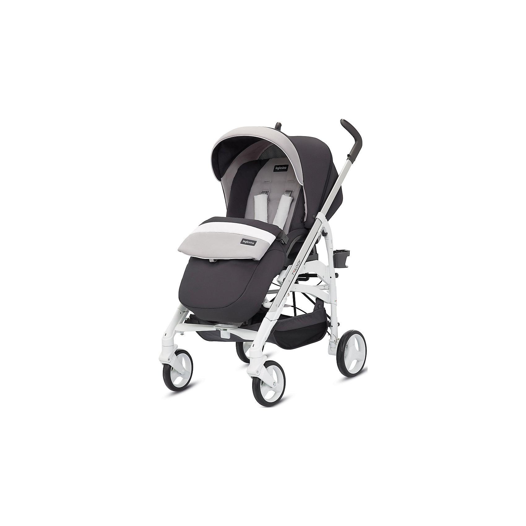 Прогулочная коляска Inglesina Trilogy, GrafiteПрогулочные коляски<br>Прогулочная коляска Trilogy - прекрасный вариант для малышей и их родителей! Модель имеет прочную алюминиевую раму, систему амортизации, передние поворотные колеса, с возможностью фиксации. Модель легко складывается, имеет ножной тормоз и небольшую ширину шасси, благодаря которой коляска войдет даже в самый узкий дверной проем. С помощью системы Easy Clips, прогулочный блок одним движением руки устанавливается и снимается с шасси. Прогулочный блок переставляется лицом к маме или по направлению движения Удобное сиденье, объемный капюшон со смотровым окошком, регулируемые подножка и спинка обеспечат малышу спокойный и комфортный отдых, а пятиточечные страховочные ремни с мягкими накладками и съемный бампер гарантируют безопасность. Чехол прогулочного блока выполнен из прочных материалов, он легко снимается и стирается в теплой воде. <br><br>Дополнительная информация:<br><br>- Материал: пластик, резина, текстиль, алюминий.<br>- Тип складывания: трость. <br>- Размер в разложенном виде: 83х57х107 см. <br>- Размер в сложенном виде: 48х37х97 см.<br>- Ширина шасси: 57 см.<br>- Количество колес: 4.<br>- Колеса с подшипниками. <br>- Диаметр колес: передних - 17,5 см; задних - 20,5 см.<br>- Вес: 9,5 кг.<br>- Передние колеса поворотные с возможностью фиксации. <br>- Регулируемая спинка (в 4-хположениях, до горизонтального).<br>- Регулируемая подножка (в 2-х положениях).<br>- 5-титочечные ремни безопасности.<br>- Съемный бампер.<br>- Капюшон со смотровым окошком. <br>- Регулируемая по высоте ручка. <br>- Максимальный вес ребенка: 15 кг. <br>- Вместительная корзина для вещей. <br>- Комплектация: накидка на ножки, дождевик, подстаканник. <br><br>Прогулочную коляску Trilogy, Inglesina (Инглезина), Grafite, можно купить в нашем магазине.<br><br>Ширина мм: 1000<br>Глубина мм: 324<br>Высота мм: 415<br>Вес г: 13150<br>Возраст от месяцев: 6<br>Возраст до месяцев: 36<br>Пол: Унисекс<br>Возраст: Детский<br>SKU: 4764225