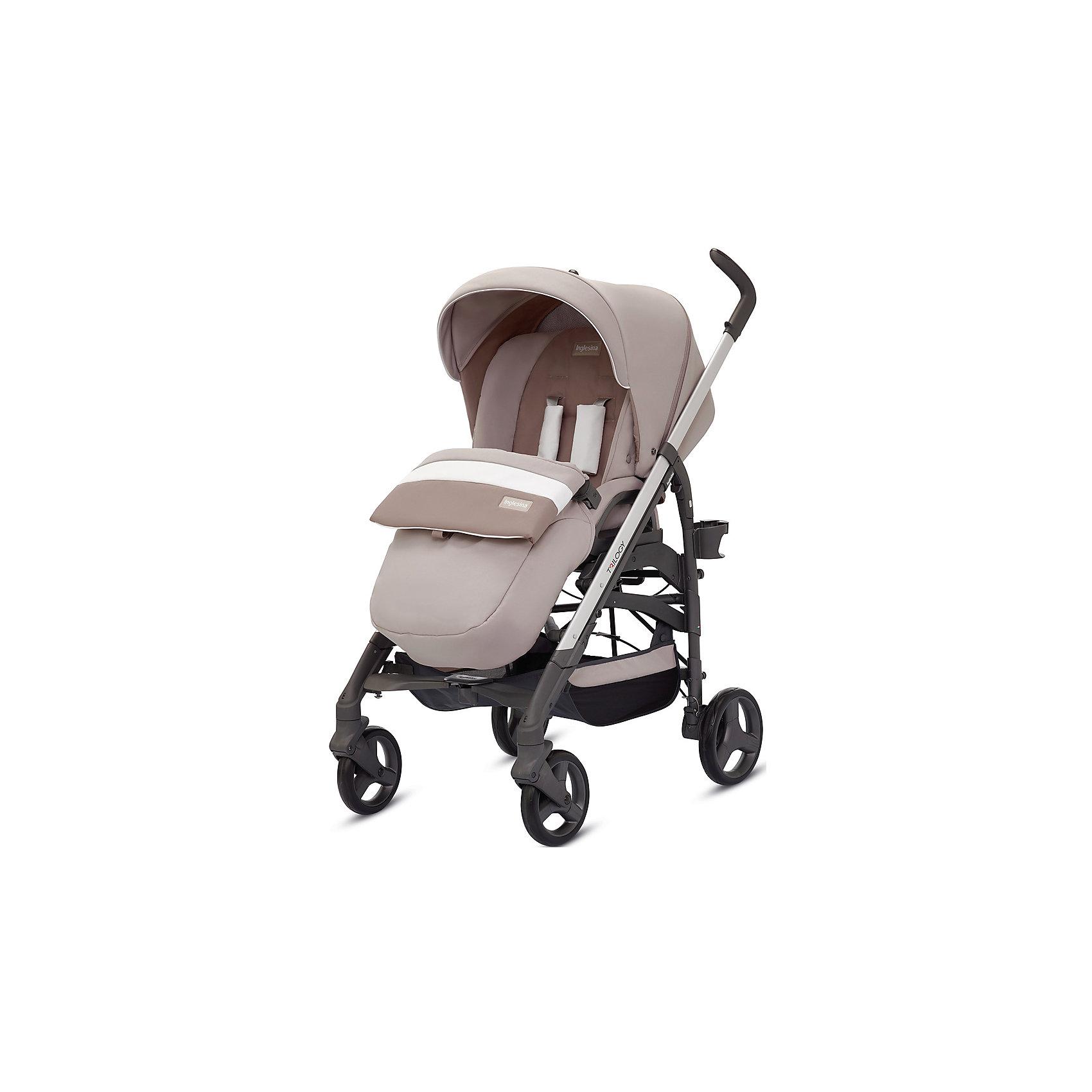 Прогулочная коляска Trilogy, Inglesina, EcruПрогулочная коляска Trilogy - прекрасный вариант для малышей и их родителей! Модель имеет прочную алюминиевую раму, систему амортизации, передние поворотные колеса, с возможностью фиксации. Модель легко складывается, имеет ножной тормоз и небольшую ширину шасси, благодаря которой коляска войдет даже в самый узкий дверной проем. С помощью системы Easy Clips, прогулочный блок одним движением руки устанавливается и снимается с шасси. Прогулочный блок переставляется лицом к маме или по направлению движения Удобное сиденье, объемный капюшон со смотровым окошком, регулируемые подножка и спинка обеспечат малышу спокойный и комфортный отдых, а пятиточечные страховочные ремни с мягкими накладками и съемный бампер гарантируют безопасность. Чехол прогулочного блока выполнен из прочных материалов, он легко снимается и стирается в теплой воде. <br><br>Дополнительная информация:<br><br>- Материал: пластик, резина, текстиль, алюминий.<br>- Тип складывания: трость. <br>- Размер в разложенном виде: 83х57х107 см. <br>- Размер в сложенном виде: 48х37х97 см.<br>- Ширина шасси: 57 см.<br>- Количество колес: 4.<br>- Колеса с подшипниками. <br>- Диаметр колес: передних - 17,5 см; задних - 20,5 см.<br>- Вес: 9,5 кг.<br>- Передние колеса поворотные с возможностью фиксации. <br>- Регулируемая спинка (в 4-хположениях, до горизонтального).<br>- Регулируемая подножка (в 2-х положениях).<br>- 5-титочечные ремни безопасности.<br>- Съемный бампер.<br>- Капюшон со смотровым окошком. <br>- Регулируемая по высоте ручка. <br>- Максимальный вес ребенка: 15 кг. <br>- Вместительная корзина для вещей. <br>- Комплектация: накидка на ножки, дождевик, подстаканник. <br><br>Прогулочную коляску Trilogy, Inglesina (Инглезина), Ecru, можно купить в нашем магазине.<br><br>Ширина мм: 1000<br>Глубина мм: 324<br>Высота мм: 415<br>Вес г: 13150<br>Возраст от месяцев: 6<br>Возраст до месяцев: 36<br>Пол: Унисекс<br>Возраст: Детский<br>SKU: 4764228