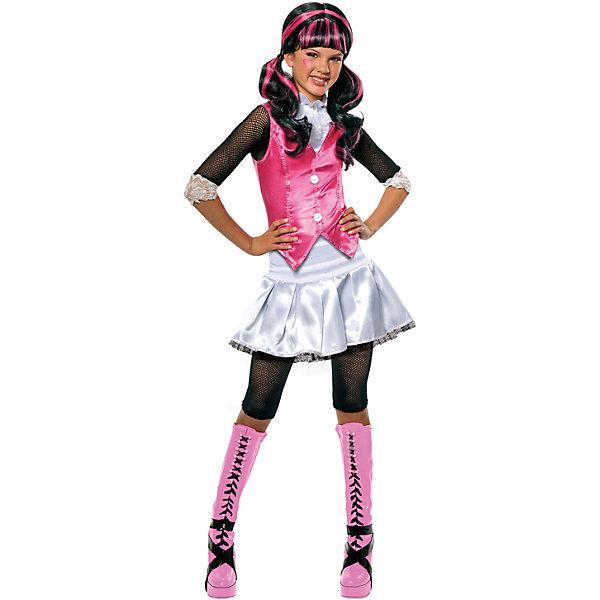 Карнавальный костюм ДРАКУЛАУРА, RUBIESИгрушки<br>Карнавальный костюм ДРАКУЛАУРА, RUBIES - стильный карнавальный костюм, который наверняка придется по душе девочке-поклоннице мультфильма Школа монстров (Monster High).<br><br>Блузка с воротником-стойкой на липучке, пышная юбочка белого цвета и укороченные леггинсы помогут девочке превратиться в жизнерадостную и веселую Дракулауру, которая не переносит вида крови и является убежденной вегетарианкой.<br><br>Дополнительная информация:<br>- В комплект входит: блузка, юбка, леггинсы.<br>- Материал: полиэстер.<br>- ВНИМАНИЕ! Туфли и парик в комплект не входят.<br><br>Карнавальный костюм ДРАКУЛАУРА, RUBIES можно купить в нашем интернет-магазине.<br><br>Ширина мм: 500<br>Глубина мм: 20<br>Высота мм: 320<br>Вес г: 292<br>Возраст от месяцев: 36<br>Возраст до месяцев: 48<br>Пол: Женский<br>Возраст: Детский<br>Размер: 104/110<br>SKU: 4764404
