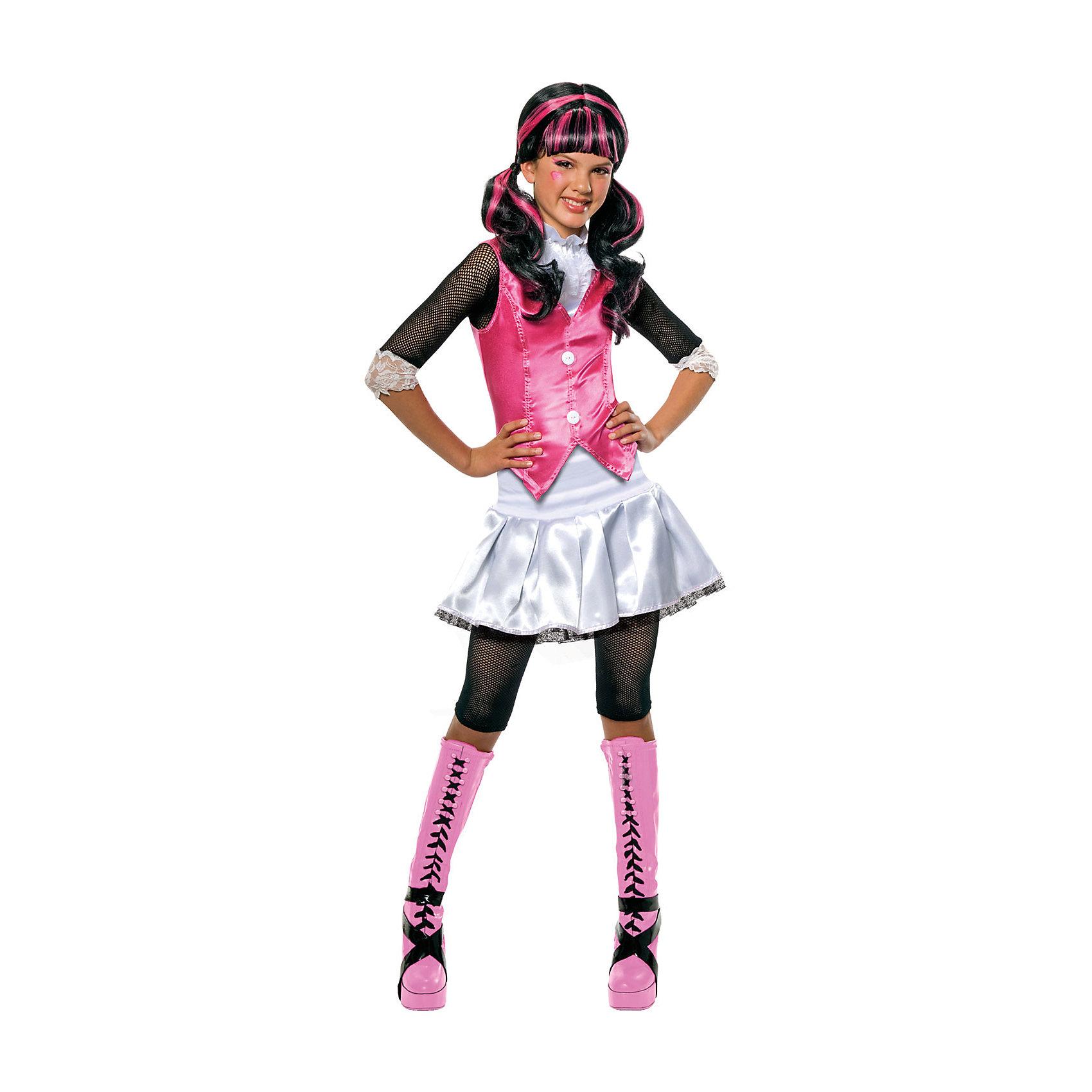 Карнавальный костюм ДРАКУЛАУРА, RUBIESИгрушки<br>Карнавальный костюм ДРАКУЛАУРА, RUBIES - стильный карнавальный костюм, который наверняка придется по душе девочке-поклоннице мультфильма Школа монстров (Monster High).<br><br>Блузка с воротником-стойкой на липучке, пышная юбочка белого цвета и укороченные леггинсы помогут девочке превратиться в жизнерадостную и веселую Дракулауру, которая не переносит вида крови и является убежденной вегетарианкой.<br><br>Дополнительная информация:<br>- В комплект входит: блузка, юбка, леггинсы.<br>- Материал: полиэстер.<br>- ВНИМАНИЕ! Туфли и парик в комплект не входят.<br><br>Карнавальный костюм ДРАКУЛАУРА, RUBIES можно купить в нашем интернет-магазине.<br><br>Ширина мм: 500<br>Глубина мм: 20<br>Высота мм: 320<br>Вес г: 292<br>Цвет: разноцветный<br>Возраст от месяцев: 36<br>Возраст до месяцев: 48<br>Пол: Женский<br>Возраст: Детский<br>Размер: 104/110<br>SKU: 4764404