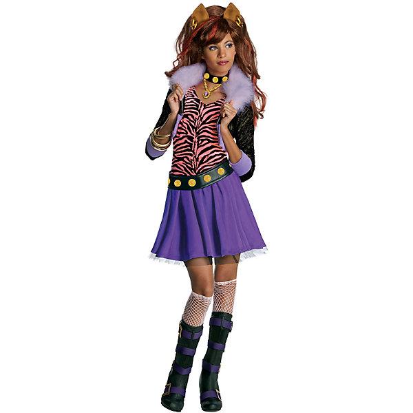 Карнавальный костюм КЛОДИН ВУЛЬФ, RUBIESКарнавальные костюмы для девочек<br>Карнавальный костюм Клодин Вульф станет прекрасным подарком для юной поклонницы популярного детского мультфильма Школа Монстров. <br><br>Карнавальный костюм включает в себя жакет, топ, юбку, ошейник, пояс и гетры с имитацией обуви. Короткий жакет сшит из блестящей чёрной ткани, на воротнике – искусственный сиреневый мех. Чёрно-розовый топ свободного кроя украшен оборкой на груди. Юбка с вшитым чёрным подъюбником для удобства сделана на резинке. Ремень и ошейник  застёгиваются на липучки. Дополняют наряд гетры с накладками на обувь с рисунком, имитирующим сапожки Клодин.<br><br>Дополнительная информация: <br><br>- В комплект входит: жакет, топ, юбка, ошейник, пояс и гетры. <br>- Материалы: текстиль, полиэстр, пластик, металл.<br>- Размер упаковки: 40 x 35 x 5 см.<br>ВНИМАНИЕ! Парик и обувь в комплект не входят.<br><br>Карнавальный костюм Клодин Вульф  можно купить в нашем интернет-магазине.<br><br>Ширина мм: 450<br>Глубина мм: 30<br>Высота мм: 350<br>Вес г: 367<br>Цвет: белый<br>Возраст от месяцев: 36<br>Возраст до месяцев: 48<br>Пол: Женский<br>Возраст: Детский<br>Размер: 104/110,122/128,110/116<br>SKU: 4764409