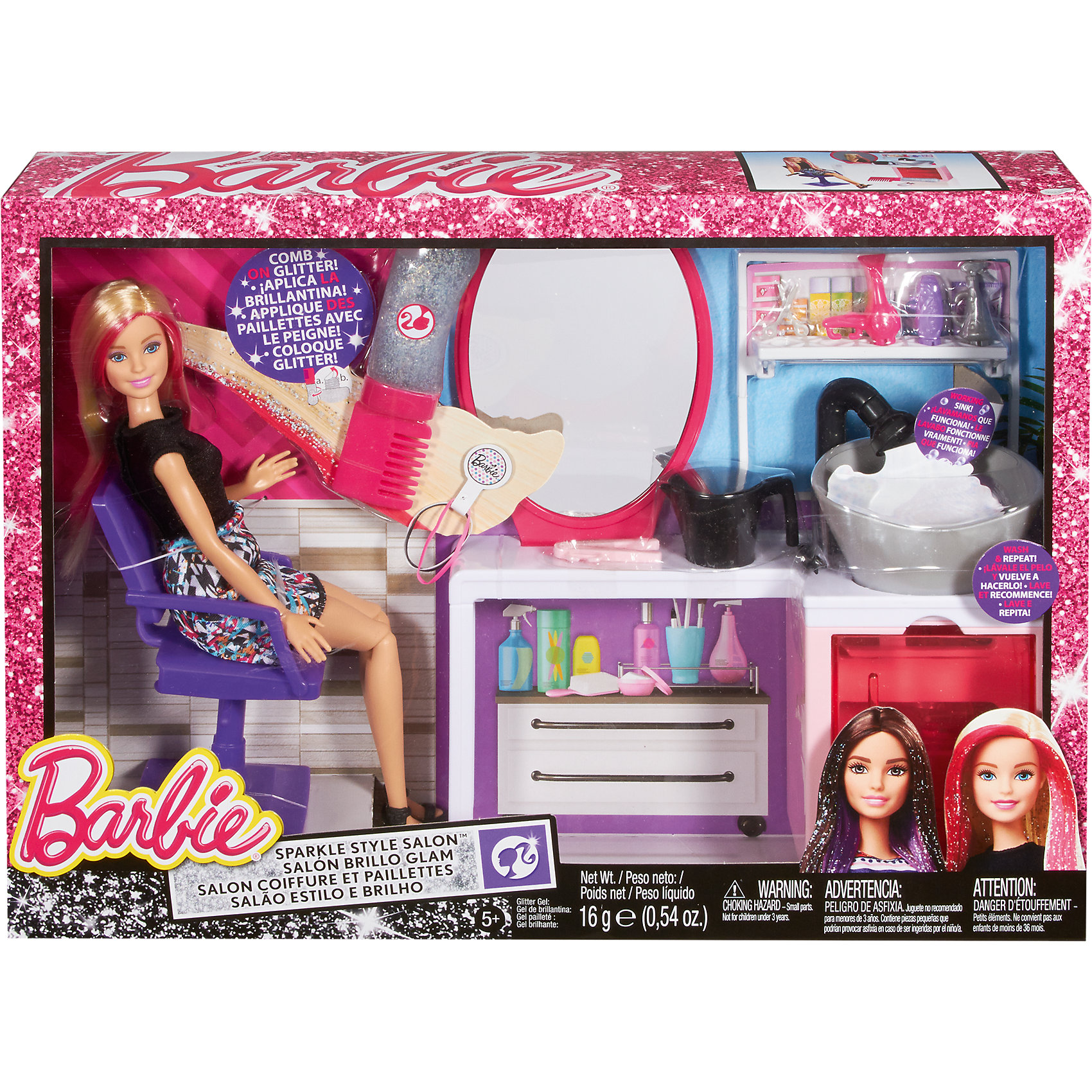 Набор для создания блестящих причесок, BarbieСоздайте стильную блестящую прическу для Барби! В набор входит всё, что нужно начинающему стилисту: туалетный столик, раковина, стульчик, расческа с блестками, спрей, фен и многое другое. Вы можете сделать кукле укладку, нанести блестки - волшебная прическа готова! Блестки легко смываются и ребенок с легкостью сможет сделать новую прическу, предварительно помыв волосы кукле с помощью шампуня и раковины из набора. Барби одета в стильное платье с орнаментом. Ее длинные светлые волосы украшены розовыми прядями. Добавьте к ним немного блесток, и волосы куклы начнут сверкать! Девочка несомненно обрадуется такому подарку и сможет почувствовать себя настоящим стилистом!<br><br>Дополнительная информация:<br>Материал: пластик, текстиль<br>Все материалы безопасны для ребенка<br>В наборе: Кукла Барби, туалетный столик с раковиной, расческа с блестками, стул, спрей, шампунь, фен, плойка, щетка, кружка, ножницы<br>Размер упаковки: 41х29,5х8 см<br>Вес: 825 грамм<br>Высота куклы: 28 см<br>Высота туалетного столика: 27 см<br><br>Набор для создания блестящих причесок Barbie(Барби) вы можете приобрести в нашем интернет-магазине<br><br>Ширина мм: 409<br>Глубина мм: 294<br>Высота мм: 87<br>Вес г: 816<br>Возраст от месяцев: 36<br>Возраст до месяцев: 72<br>Пол: Женский<br>Возраст: Детский<br>SKU: 4765312