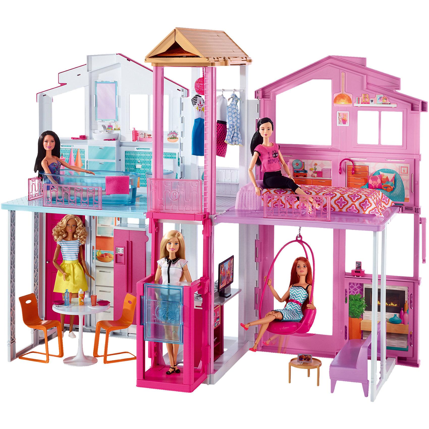 Городской дом Малибу, BarbieИгрушечные домики и замки<br>Городской дом Малибу для Barbie состоит из двух этажей. На первом этаже находятся кухня и гостиная, на втором - ванная комната и спальня. Крышу дома украшает красивый складной зонт. Этажи соединены лифтом, на котором можно поднять и спустить куклу. Вся мебель выполнена в современном стиле. В набор входит мебель, бытовая техника и аксессуары. Домик очень компактный и занимает мало места в сложенном виде Подарите девочке роскошный дом для любимой куклы!<br><br>Дополнительная информация:<br>В наборе: дом, лифт, мебель, техника, аксессуары<br>Материал: пластик<br>Размер упаковки: 40,5х19,5х72,5 см<br>Вес: 4,749 кг<br>Необходимы 3 батарейки типа ААА для лифта<br>Кукла в комплект не входит<br><br>Городской дом Малибу Barbie вы можете купить в нашем интернет-магазине.<br><br>Ширина мм: 729<br>Глубина мм: 413<br>Высота мм: 203<br>Вес г: 5028<br>Возраст от месяцев: 36<br>Возраст до месяцев: 72<br>Пол: Женский<br>Возраст: Детский<br>SKU: 4765314
