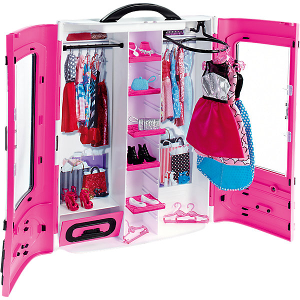 Мебель для куклы Barbie Шкаф модниц, розовыйМебель для кукол<br>Характеристики:<br><br>• возраст: от 3 лет;<br>• материал: пластик, текстиль;<br>• в наборе: шкаф, аксессуары;<br>• вес упаковки: 970 гр.;<br>• размер упаковки: 33х25х9 см;<br>• страна бренда: США.<br><br>Набор Mattel Barbie «Розовый шкаф модниц» поможет разместить всю кукольную одежду в стильный гардероб. В шкафу уже есть несколько нарядов и ряд вешалок для новых платьев и кофточек.<br><br>Шкаф закрывается на две створки-двери. Сверху есть ручка для переноски. Набор удобно брать с собой. Сделано из качественных безопасных материалов.<br><br>Розовый шкаф модниц Barbie можно купить в нашем интернет-магазине.<br>Ширина мм: 332; Глубина мм: 256; Высота мм: 88; Вес г: 955; Возраст от месяцев: 36; Возраст до месяцев: 72; Пол: Женский; Возраст: Детский; SKU: 4765315;