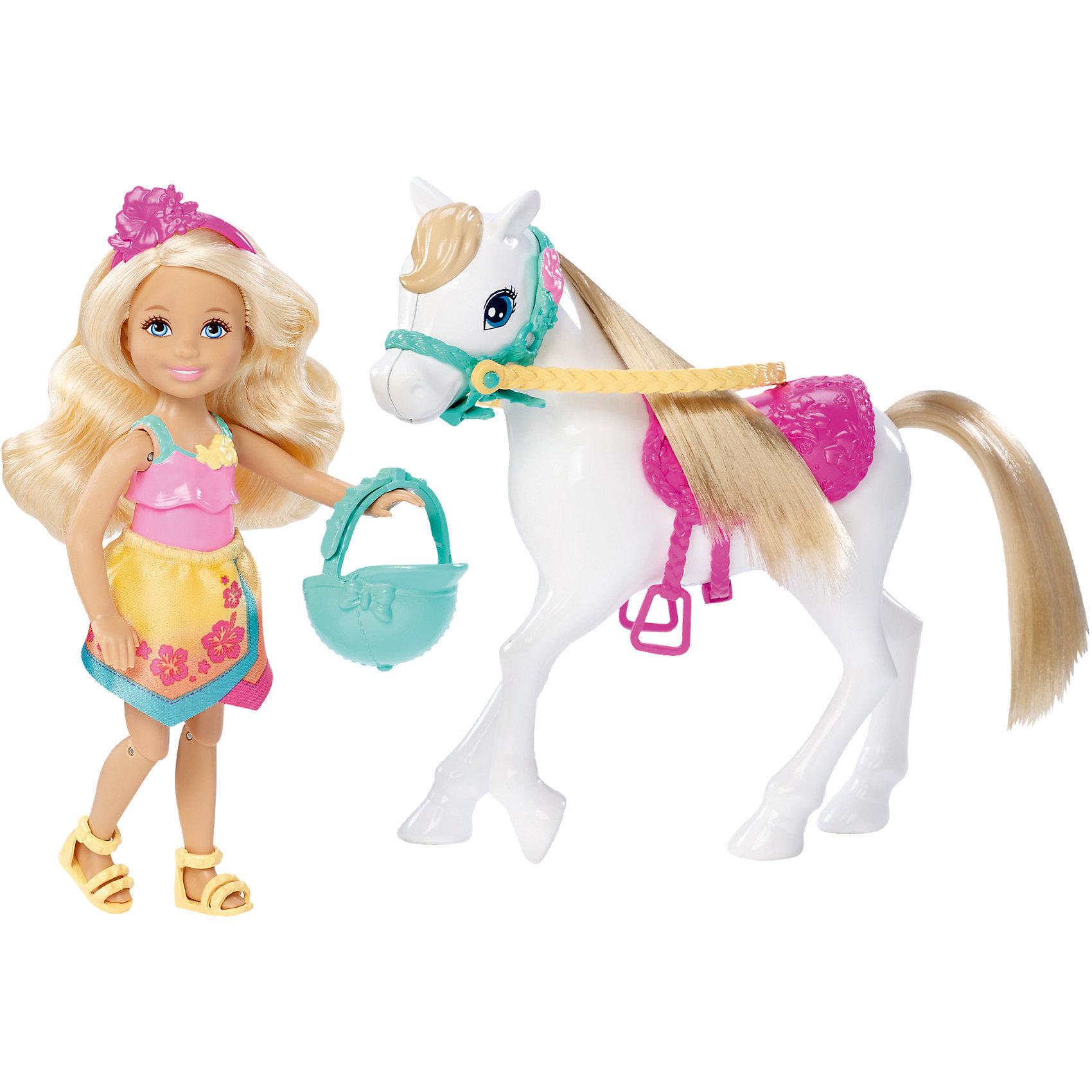 Кукла Челси и пони, BarbieКукла Челси и пони, Barbie от Mattel (Маттел) ? игрушка, созданная по мотивам мультфильма  Вarbie и сестры: в поисках щенков. Игровой комплект состоит из мини-куклы Челси, пони и аксессуаров. Все детали выполнены из высококачественного пластика, устойчивого к повреждениям и изменению цвета. <br>У Челси подвижные руки, ноги и голова, она умеет капаться верхом, для этого предназначен и ее наряд: маечка, свободная юбочка с запахом спереди, желтые босоножки и яркий ободок на голове. У Челси имеется шлем, который обеспечивает безопасность во время катания. У пони ? пышная и длинная грива, на спине ? розовое седло со стременами.<br>Кукла Челси и пони, Barbie от Mattel (Маттел) может быть отличным вариантом в качестве подарка для девочки к любому торжеству.<br><br>Дополнительная информация:<br><br>- Вид игр: сюжетно-ролевые <br>- Предназначение: для дома<br>- Серия: по мотивам мультфильма Вarbie и сестры: в поисках щенков <br>- Материал: пластик, резина, текстиль<br>- Высота: куклы ? 13 см, пони ? 15 см<br>- Особенности ухода: куклу и аксессуары можно мыть в теплой мыльной воде<br><br>Подробнее:<br><br>• Для детей в возрасте: от 3 лет и до 6 лет<br>• Страна производитель: Китай<br>• Торговый бренд: Barbie<br><br>Куклу Челси и пони, Barbie от Mattel (Маттел) можно купить в нашем интернет-магазине.<br><br>Ширина мм: 259<br>Глубина мм: 238<br>Высота мм: 66<br>Вес г: 249<br>Возраст от месяцев: 36<br>Возраст до месяцев: 72<br>Пол: Женский<br>Возраст: Детский<br>SKU: 4765319