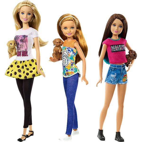 Куклы-сестры Barbie со щенками, Barbie, в ассортиментеПопулярные игрушки<br>Куклы-сестры Barbie со щенками, Barbie (Барби), в ассортименте<br><br>Характеристик:<br><br>• куклы Барби с любимыми питомцами<br>• стильные наряды<br>• материал: пластик, текстиль<br>• в комплекте: кукла, одежда, обувь, питомец<br>• размер упаковки: 6х33х13 см<br><br>Куколки Барби наконец-то нашли любимого питомца. Для прогулки с ним девочки оделись в удобные и стильные наряды, подчеркивающие оригинальность образа. В комплект входит кукла с одеждой и маленький питомец. Придумывайте интересные истории о прогулках с собачкой или устраивайте настоящую выставку с подружками. Эти куклы никогда не заскучают!<br><br>ВНИМАНИЕ! Данный артикул имеется в наличии в разных вариантах исполнения. Заранее выбрать определенный вариант нельзя. При заказе нескольких наборов возможно получение одинаковых.<br><br>Куклы-сестры Barbie со щенками, Barbie (Барби), в ассортименте вы можете купить в нашем интернет-магазине.<br><br>Ширина мм: 328<br>Глубина мм: 129<br>Высота мм: 53<br>Вес г: 189<br>Возраст от месяцев: 36<br>Возраст до месяцев: 72<br>Пол: Женский<br>Возраст: Детский<br>SKU: 4765320