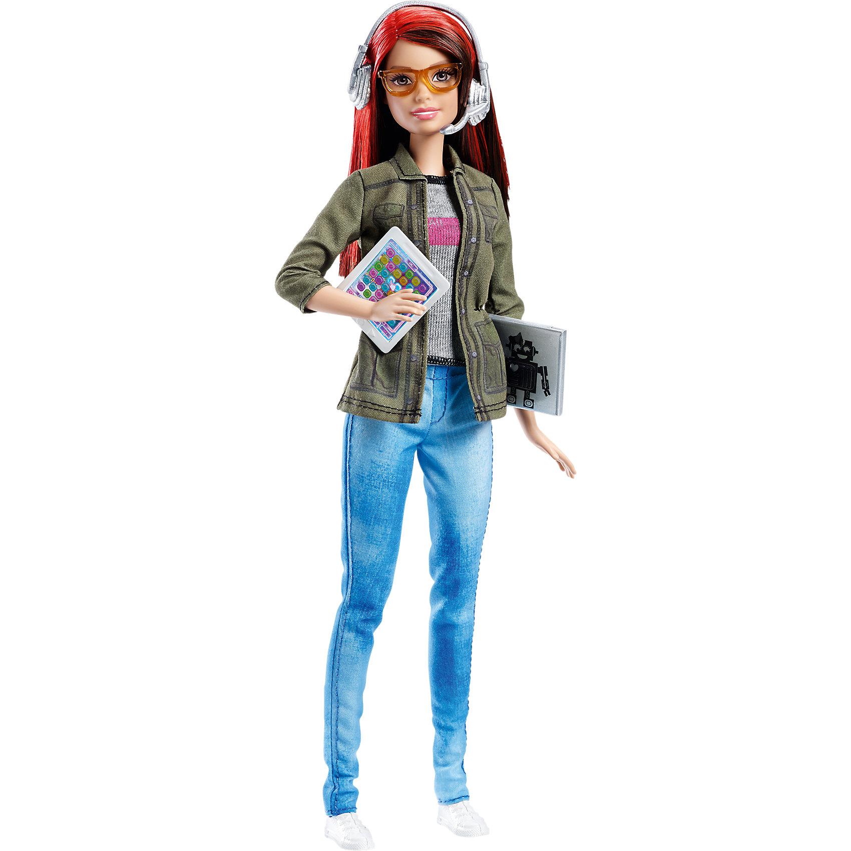 Кукла разработчик компьютерных игр, BarbieПопулярные игрушки<br>Кукла разработчик компьютерных игр, Barbie от Mattel (Маттел) ? Барби предстает в новом образе ультрасовременной разработчицы компьютерных игр. Наряд куклы соответствует ее новой профессии: слегка потертые джинсы, трикотажная маечка, жакет защитного цвета с рукавами три четверти и белые кроссовки. Волосы ? прямые, ярко рыжего цвета. Барби носит очки. В комплекте имеются аксессуары, характеризующие род деятельности ? планшет, ноутбук и наушники. Все элементы выполнены из безопасного и нетоксичного пластика. <br>Кукла разработчик компьютерных игр, Barbie от Mattel (Маттел) может быть отличным вариантом в качестве подарка для девочки к любому торжеству.<br><br>Дополнительная информация:<br><br>- Вид игр: сюжетно-ролевые <br>- Предназначение: для дома<br>- Комплектация: Кукла, компьютер, очки, планшет, наушники <br>- Материал: пластик, резина, текстиль<br>- Размеры (Д*Ш*В): 28*15*6 см<br>- Вес: 210 г<br><br>Подробнее:<br><br>• Для детей в возрасте: от 3 лет и до 6 лет<br>• Страна производитель: Китай<br>• Торговый бренд: Barbie<br><br>Куклу разработчика компьютерных игр, Barbie от Mattel (Маттел)  можно купить в нашем интернет-магазине.<br><br>Ширина мм: 329<br>Глубина мм: 205<br>Высота мм: 68<br>Вес г: 249<br>Возраст от месяцев: 36<br>Возраст до месяцев: 72<br>Пол: Женский<br>Возраст: Детский<br>SKU: 4765325