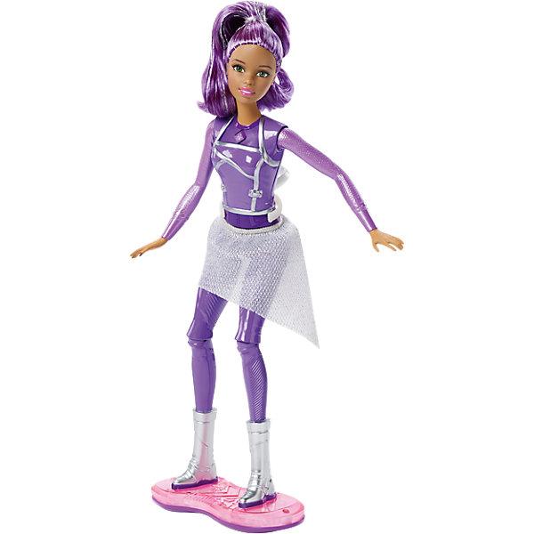 Кукла с ховербордом из серии Barbie и космическое приключениеКуклы модели<br>Характеристики куклы Mattel:<br><br>• высота куклы: 30 см;<br>• световые эффекты: голубое, красное и розовое свечение;<br>• звуковые эффекты: 5 режимов;<br>• шарнирные конечности: руки поднимаются вверх и в стороны, ноги поднимаются и опускаются, сгибаются в коленях;<br>• кукла Барби делает полное сальто;<br>• Барби устойчиво стоит на ховерборде, не покидает свой «пост» во время кругового вращения;<br>• для работы свето-звуковых эффектов требуются батарейки: 3 шт. типа LR4;<br>• батарейки входят в комплект;<br>• размер упаковки: 32,5х25х7 см;<br>• вес упаковки: 383 г.<br><br>Кукла Барби из коллекции «Barbie и космическое приключение» маневрирует, летает и делает сальто на ховерборде. Устройство оснащено световыми и звуковыми эффектами, яркие краски переливаются и смешиваются, создается впечатление космической прогулки. Наличие специального кольца-крепления дает возможность вращать куклу на 360 градусов, находиться в невесомости.  <br><br>Куклу с ховербордом из серии Barbie и космическое приключение можно купить в нашем интернет-магазине.<br><br>Ширина мм: 330<br>Глубина мм: 253<br>Высота мм: 73<br>Вес г: 354<br>Возраст от месяцев: 36<br>Возраст до месяцев: 72<br>Пол: Женский<br>Возраст: Детский<br>SKU: 4765334