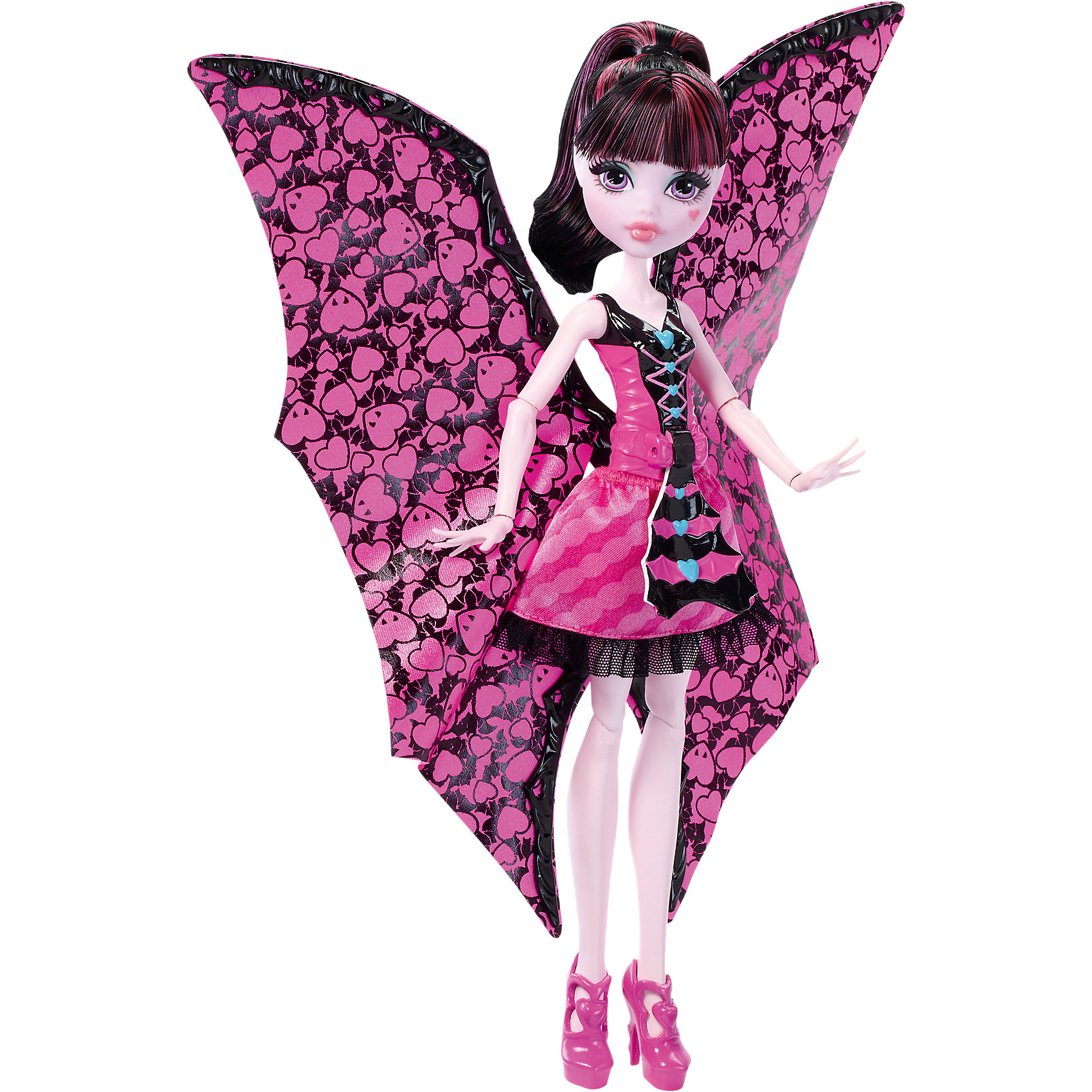 Дракулаура в трансформирующемся наряде, Monster HighПопулярные игрушки<br>Дракулаура в трансформирующемся наряде, Monster High, Mattel (Маттел) ? кукла, выполненная в образе одной из главных героинь знаменитого фильма Школы моннстров. Кукла выполнена из экологичного и безопасного пластика, волосы изготовлены из нейлона. Дракулаура ? шарнирная кукла, поэтому ей можно придать абсолютно любую позу<br>Дракулаура на этот раз предстает в наряде, который позволяет ей быстро и легко превращаться в летучую мышь. Для этого достаточно потянуть на рычажок, который расположен на корсете ее наряда и пышная верхняя юбка превратится в крылья. Наряд Дракулауры выполнен в ее самом любимом цвете ? розовом, на ногах ? розовые туфельки.<br>Дракулаура в трансформирующемся наряде, Monster High, Mattel (Маттел) ? идеальный подарок для поклонников данной серии.<br>Обратите внимание, что самостоятельно кукла стоять не может, для этого ей требуется подставка (в комплект не входит).<br><br>Дополнительная информация:<br><br>- Вид игр: сюжетно-ролевые <br>- Предназначение: для дома<br>- Серия: Monster High<br>- Материал: пластик, текстиль<br>- Размер (Д*Ш*В): 7*33*21 см<br>- Вес: 260 г <br><br>Подробнее:<br><br>• Для детей в возрасте: от 6 лет и до 12 лет<br>• Страна производитель: Китай<br>• Торговый бренд: Mattel<br><br>Дракулауру в трансформирующемся наряде, Monster High, Mattel (Маттел) можно купить в нашем интернет-магазине.<br><br>Ширина мм: 324<br>Глубина мм: 215<br>Высота мм: 67<br>Вес г: 226<br>Возраст от месяцев: 72<br>Возраст до месяцев: 120<br>Пол: Женский<br>Возраст: Детский<br>SKU: 4765349