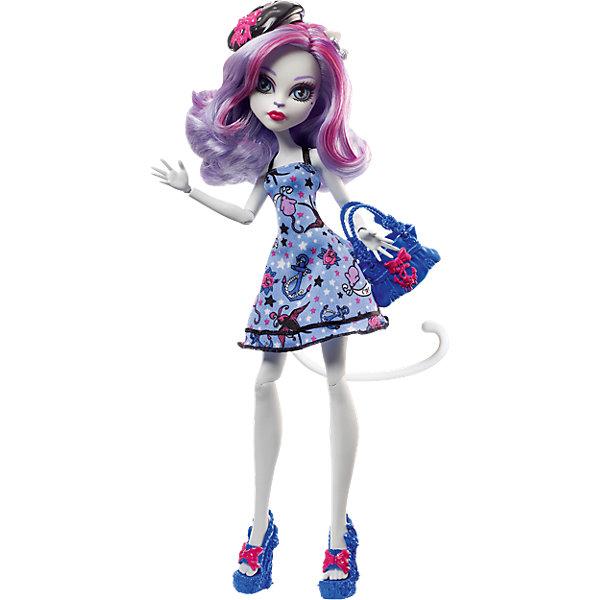 Кукла Катрин де Мяу из серии Пиратская авантюра, Monster HighMonster High<br>Популярная кошечка Катрин де Мяу отправилась в путешествие на корабле с подружками, но случилась беда - корабль потерпел крушение. Несмотря на это, Катрин по-прежнему выглядит потрясающе. Стильное голубое платье с принтом на морскую тематику отлично дополняют синие туфельки на высокой платформе, синяя сумочка с якорем и черный беретик. Яркий макияж прекрасно сочетается с бледной кожей девочки. Отправляйтесь навстречу пиратским приключениям с Катрин де Мяу!<br><br>Дополнительная информация:<br>Материал: пластик, текстиль<br>Высота куклы: 26 см<br>Вес куклы: 200 грамм<br>Серия: Пиратская авантюра<br><br>Куклу Катрин де Мяу из серии Пиратская авантюра можно приобрести в нашем интернет-магазине.<br>Ширина мм: 328; Глубина мм: 154; Высота мм: 68; Вес г: 198; Возраст от месяцев: 72; Возраст до месяцев: 120; Пол: Женский; Возраст: Детский; SKU: 4765356;
