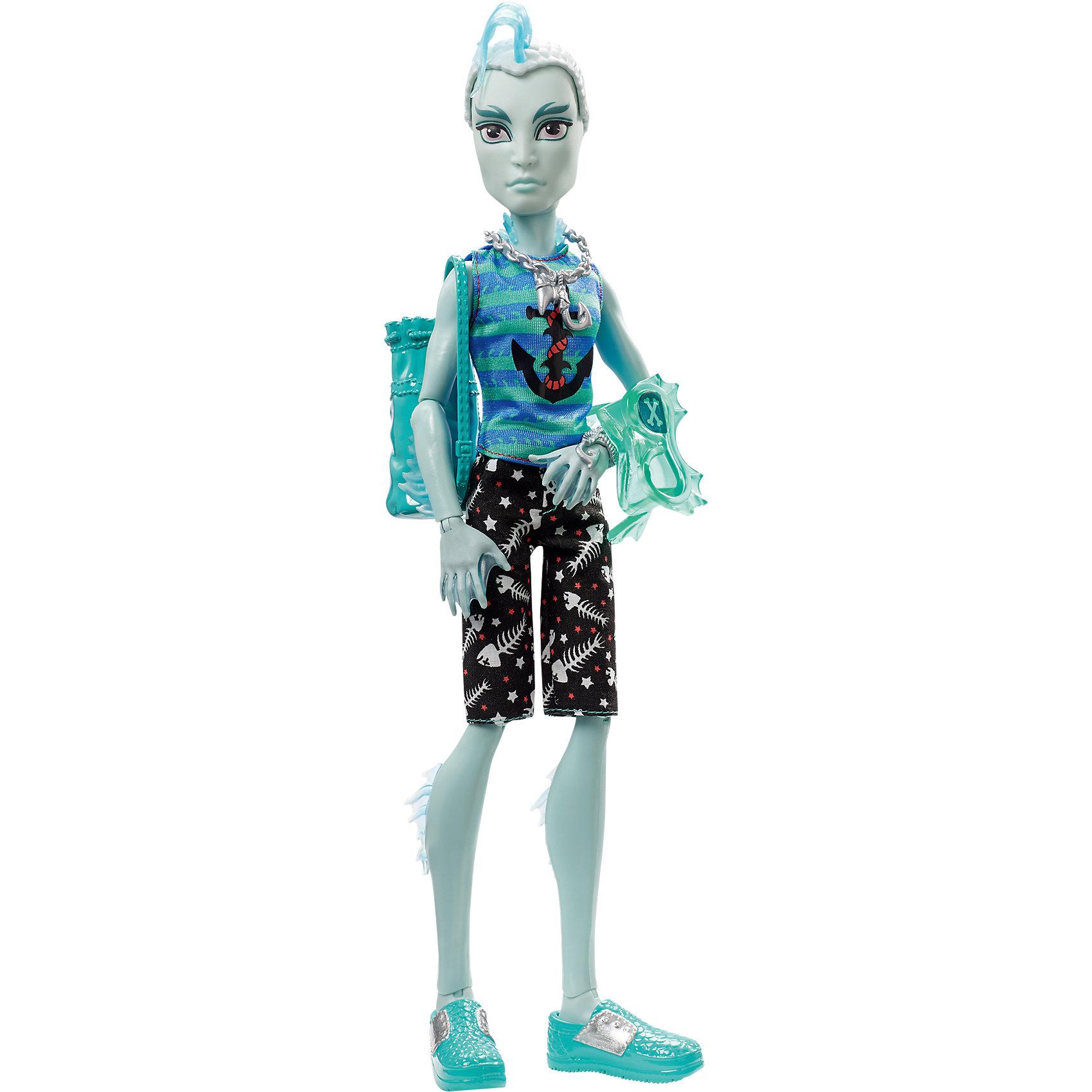 Кукла Гил Веббер из серии Пиратская авантюра, Monster HighMonster High<br>Сын Речного монстра Гил Веббер отправился в путешествие на корабле с друзьями, но случилась беда - корабль потерпел крушение. Несмотря на это, Гил по-прежнему выглядит потрясающе. Он одет в майку с синими и бирюзовыми полосками, шорты с забавным принтом и сандалии. Морскую тематику стиля Гила дополняют цепь с крюком, маска, жабры и чешуя на голове. Отправляйтесь навстречу пиратским приключениям с Гилом Веббером!<br><br>Дополнительная информация:<br>Материал: пластик, текстиль<br>Высота куклы: 26 см<br>Вес куклы: 200 грамм<br>Серия: Пиратская авантюра<br><br>Куклу Гил Веббер из серии Пиратская авантюра можно приобрести в нашем интернет-магазине.<br><br>Ширина мм: 329<br>Глубина мм: 154<br>Высота мм: 68<br>Вес г: 229<br>Возраст от месяцев: 72<br>Возраст до месяцев: 120<br>Пол: Женский<br>Возраст: Детский<br>SKU: 4765358