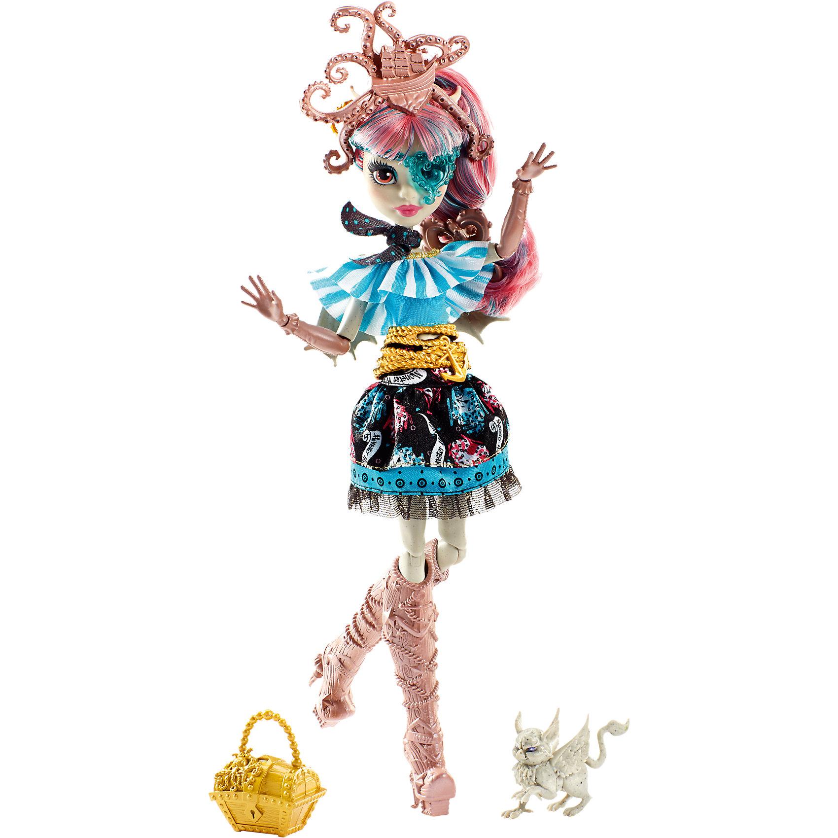Кукла Рошель Гойл из серии Пиратская авантюра, Monster HighMonster High<br>Рошель Гойл, дочери горгульи на этот раз предстоит найти выход с необитаемого острова после кораблекрушения. И, конечно же, не обойдется без поиска сокровищ! Кукла одета в стильное платье с рюшами и поясом в виде якоря. Сапожки и сумочка в форме сундучка украшены драгоценными камнями. Модная шляпка-осьминог, питомец и маска в виде сердечка подчеркивают оригинальность образа настоящей пиратки. <br><br>Дополнительная информация:<br>Материал: пластик<br>Требуется подставка<br>Куклу Рошель Гойл(Monster High) можно купить в нашем интернет-магазине.<br><br>Ширина мм: 203<br>Глубина мм: 64<br>Высота мм: 324<br>Вес г: 500<br>Возраст от месяцев: 72<br>Возраст до месяцев: 144<br>Пол: Женский<br>Возраст: Детский<br>SKU: 4765360