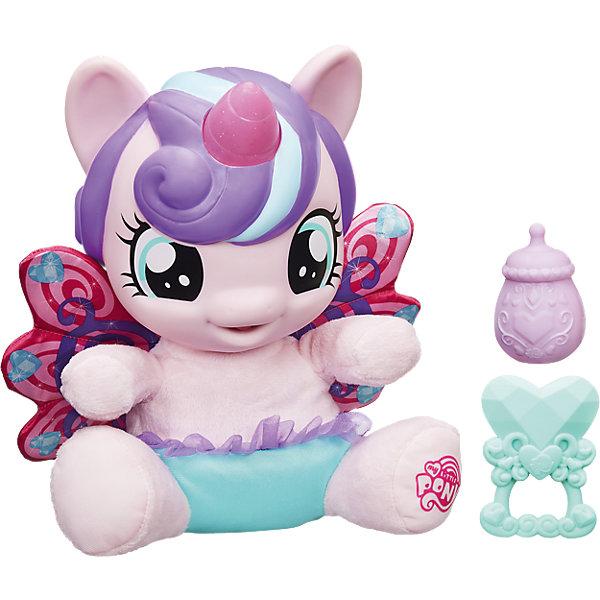 Малышка Пони-принцесса, My Little PonyИгрушки<br>В мире Эквестрии произошло грандиозное событие - у принцессы Каденс родилась дочка! У плюшевой малышки Пони-принцессы красивые мягкие крылья, а ее рог светится разными цветами! Три сенсорные зоны - спинка, живот и ножки. Отсканируйте специальный код своим мобильным устройством, и откройте новые функции в игровом мобильном приложении My Little Pony.<br>Ширина мм: 332; Глубина мм: 330; Высота мм: 147; Вес г: 968; Возраст от месяцев: 36; Возраст до месяцев: 72; Пол: Женский; Возраст: Детский; SKU: 4767291;
