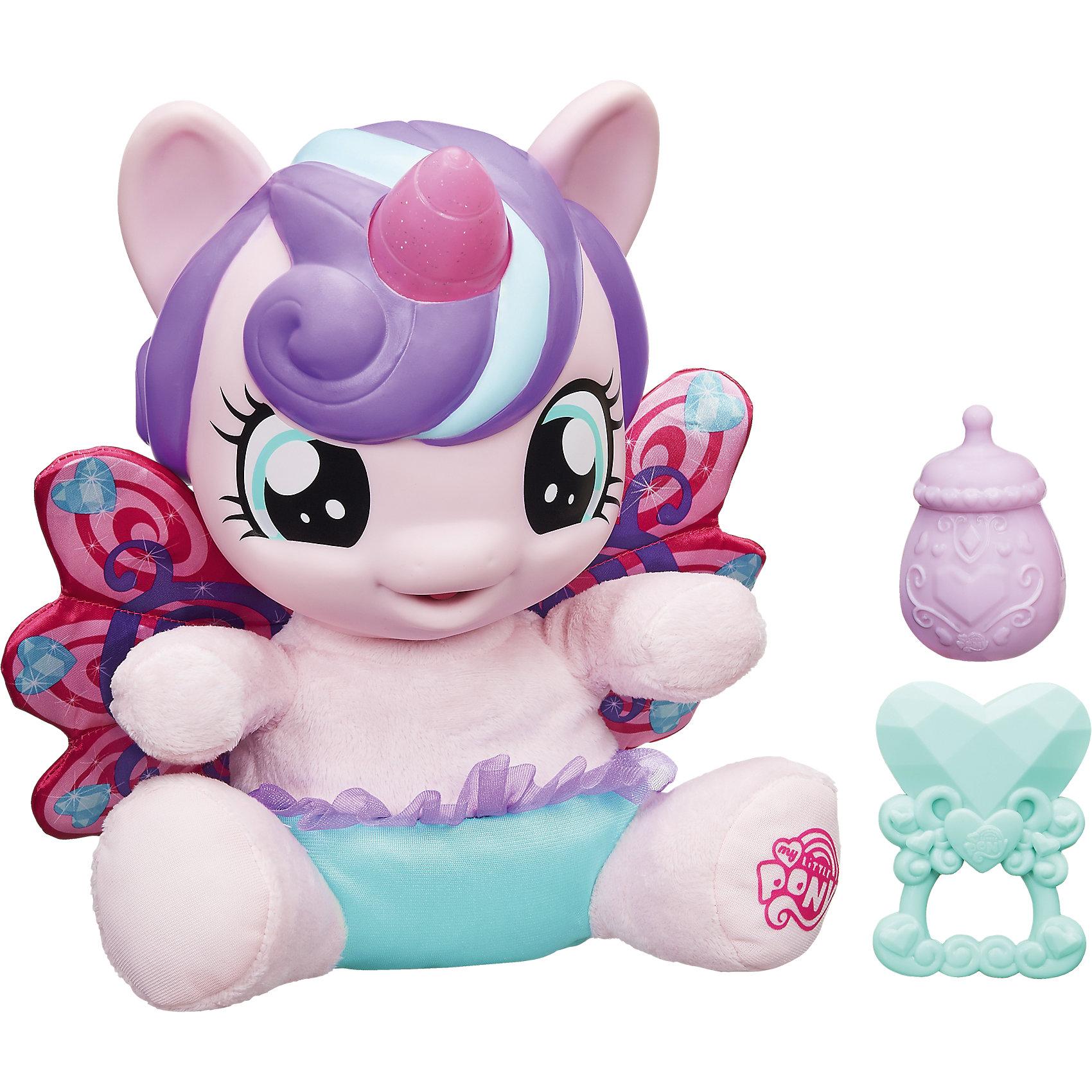 Малышка Пони-принцесса, My Little PonyИгрушки<br>В мире Эквестрии произошло грандиозное событие - у принцессы Каденс родилась дочка! У плюшевой малышки Пони-принцессы красивые мягкие крылья, а ее рог светится разными цветами! Три сенсорные зоны - спинка, живот и ножки. Отсканируйте специальный код своим мобильным устройством, и откройте новые функции в игровом мобильном приложении My Little Pony.<br><br>Ширина мм: 337<br>Глубина мм: 328<br>Высота мм: 151<br>Вес г: 968<br>Возраст от месяцев: 36<br>Возраст до месяцев: 72<br>Пол: Женский<br>Возраст: Детский<br>SKU: 4767291