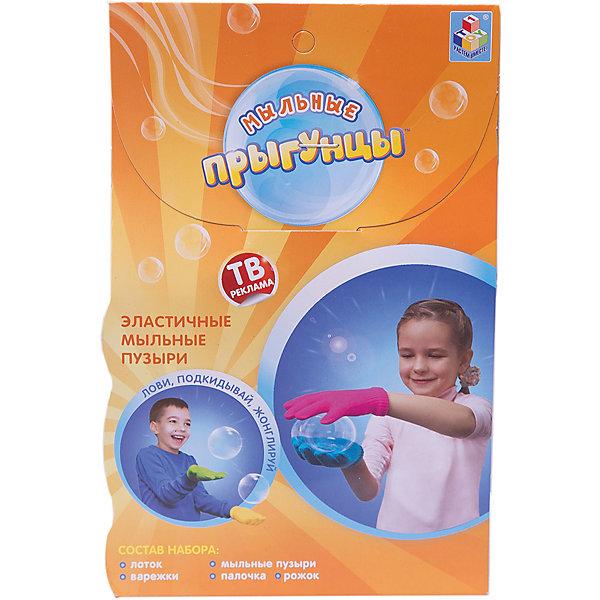 Игровой набор  Эластичные мыльные пузыри Прыгунцы, 80 мл, 1toyМыльные пузыри<br>Мыльные Прыгунцы - эластичные пузыри, с которыми весело играть, ловить, подкидывать и жонглировать! Благодаря волшебной мыльной жидкости и перчаткам мыльные пузыри не лопаются в руке. Подкидывайте пузырь, жонглируйте, удивляйте друзей! Играть Мыльными Прыгунцами можно как дома, так и на улице в безветренную погоду!<br>Ширина мм: 190; Глубина мм: 50; Высота мм: 125; Вес г: 164; Возраст от месяцев: 36; Возраст до месяцев: 192; Пол: Мужской; Возраст: Детский; SKU: 4767361;