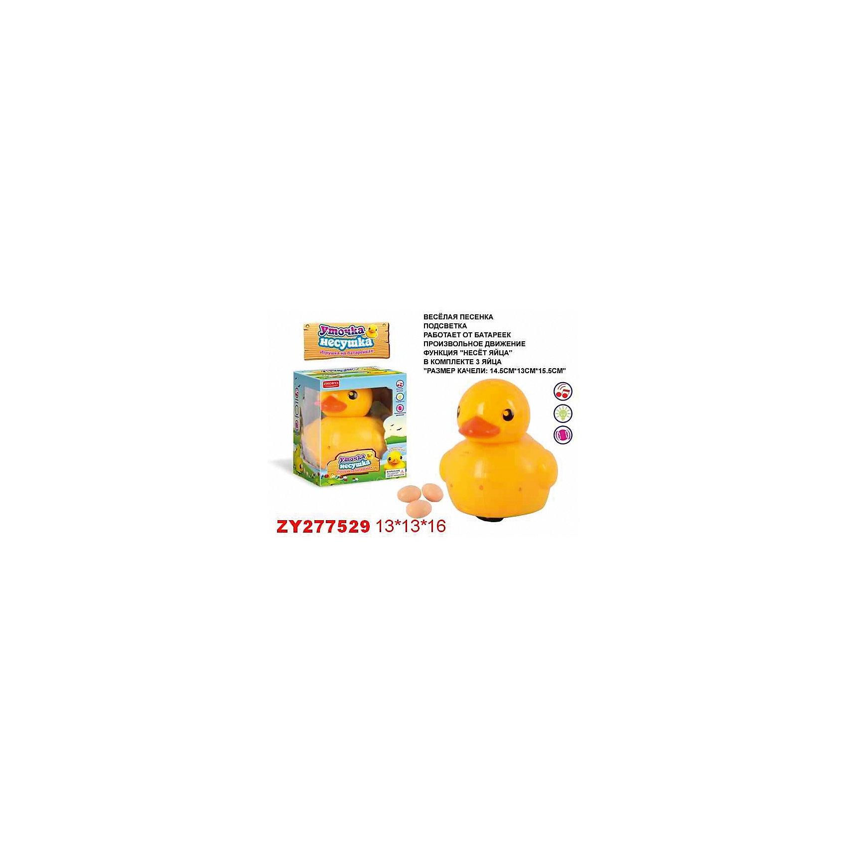 Уточка-несушка, со светом и звуком, ZhoryaУточка-несушка, со светом и звуком, Zhorya<br><br>Характеристики:<br>- Материал: пластик<br>- В комплект входит: уточка, три яйца<br>- Размер упаковки: 13 * 16 * 13 см.<br>- Элементы питания: батарейки (в комплекте отсутствуют)<br>- Вес: 300 гр.<br>Уточка-несушка от китайского бренда игрушек для детей Zhorya (Джоя) станет отличным сюрпризом для маленьких любителей животных. Классическая желтенькая уточка как для ванной теперь предстает перед нами в новом свете. Эта уточка умеет нести яички и ждать появления маленьких утят. Уточка также оснащена звуковыми и световыми эффектами. С уточкой можно придумать множество разных историй, развить воображение, моторику рук и отлично провести время.  <br>Уточку-несушку, со светом и звуком, Zhorya (Джоя) можно купить в нашем интернет-магазине.<br>Подробнее:<br>• Для детей в возрасте: от 3 до 6 лет <br>• Номер товара: 4767383<br>Страна производитель: Китай<br><br>Ширина мм: 130<br>Глубина мм: 160<br>Высота мм: 130<br>Вес г: 304<br>Возраст от месяцев: 36<br>Возраст до месяцев: 72<br>Пол: Унисекс<br>Возраст: Детский<br>SKU: 4767383